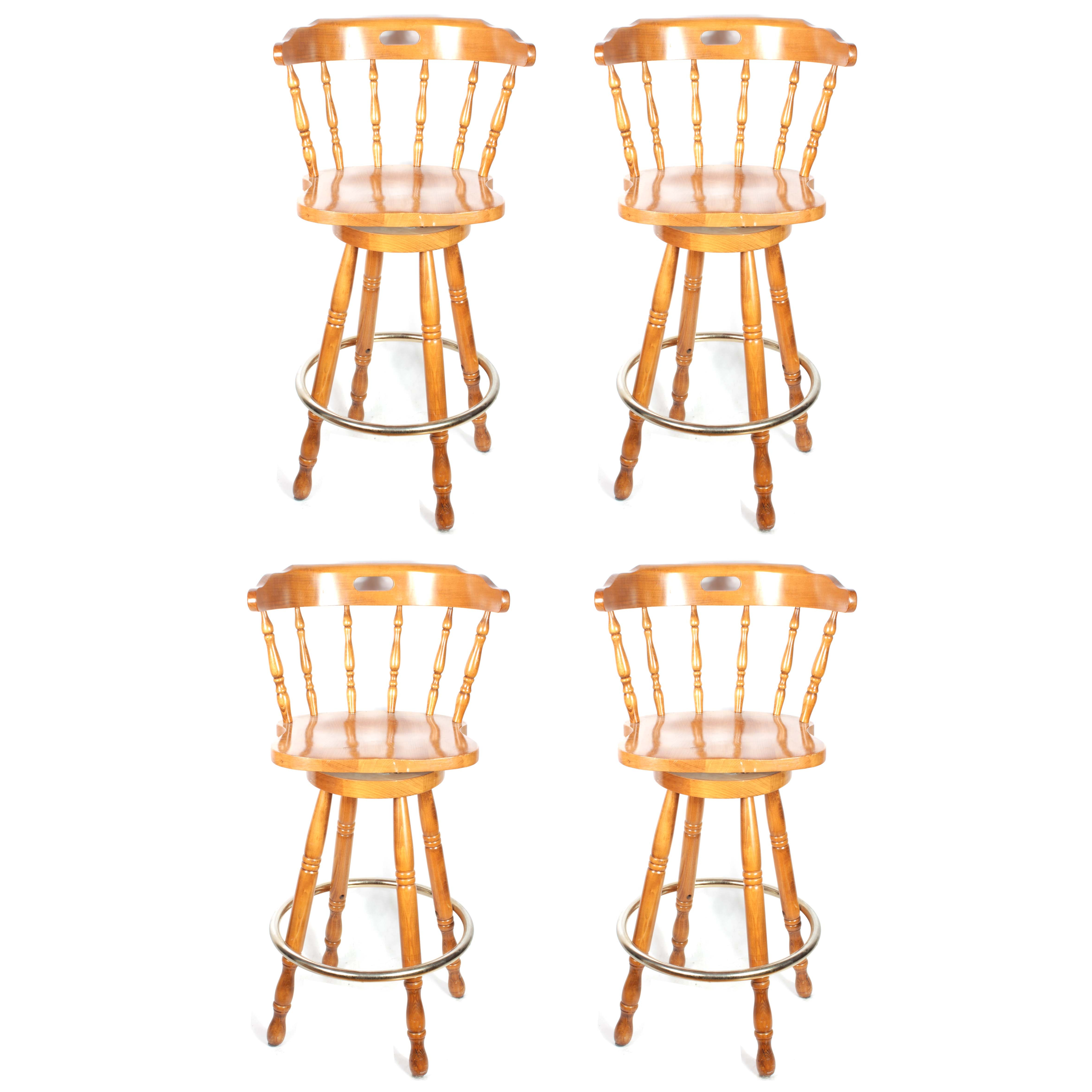 Set of Four Maple Spindle Back Swivel Bar Chairs, Circa 1970