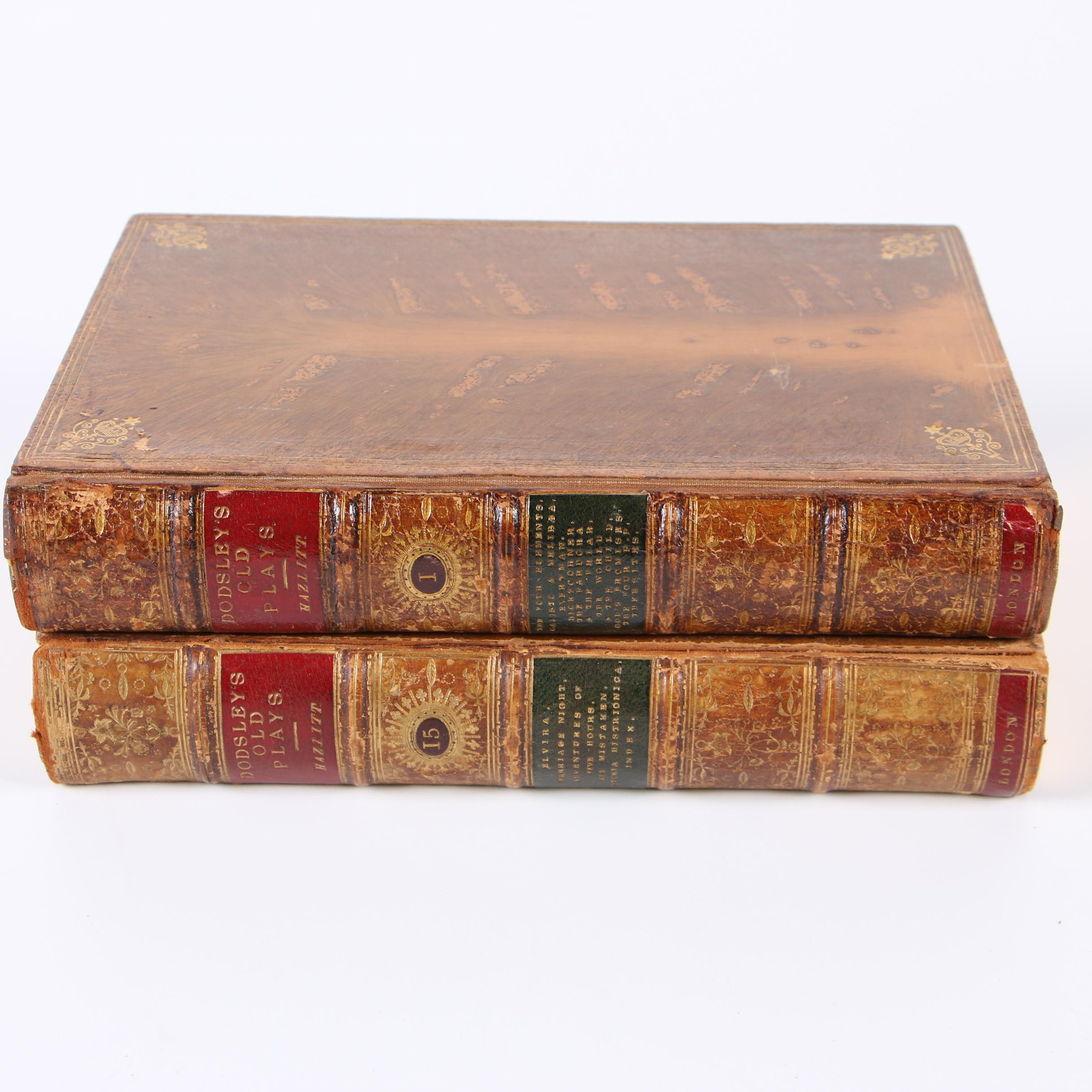 """1874 """"A Select Collection of Old English Plays"""" Vols. I and XV by Hazlitt"""