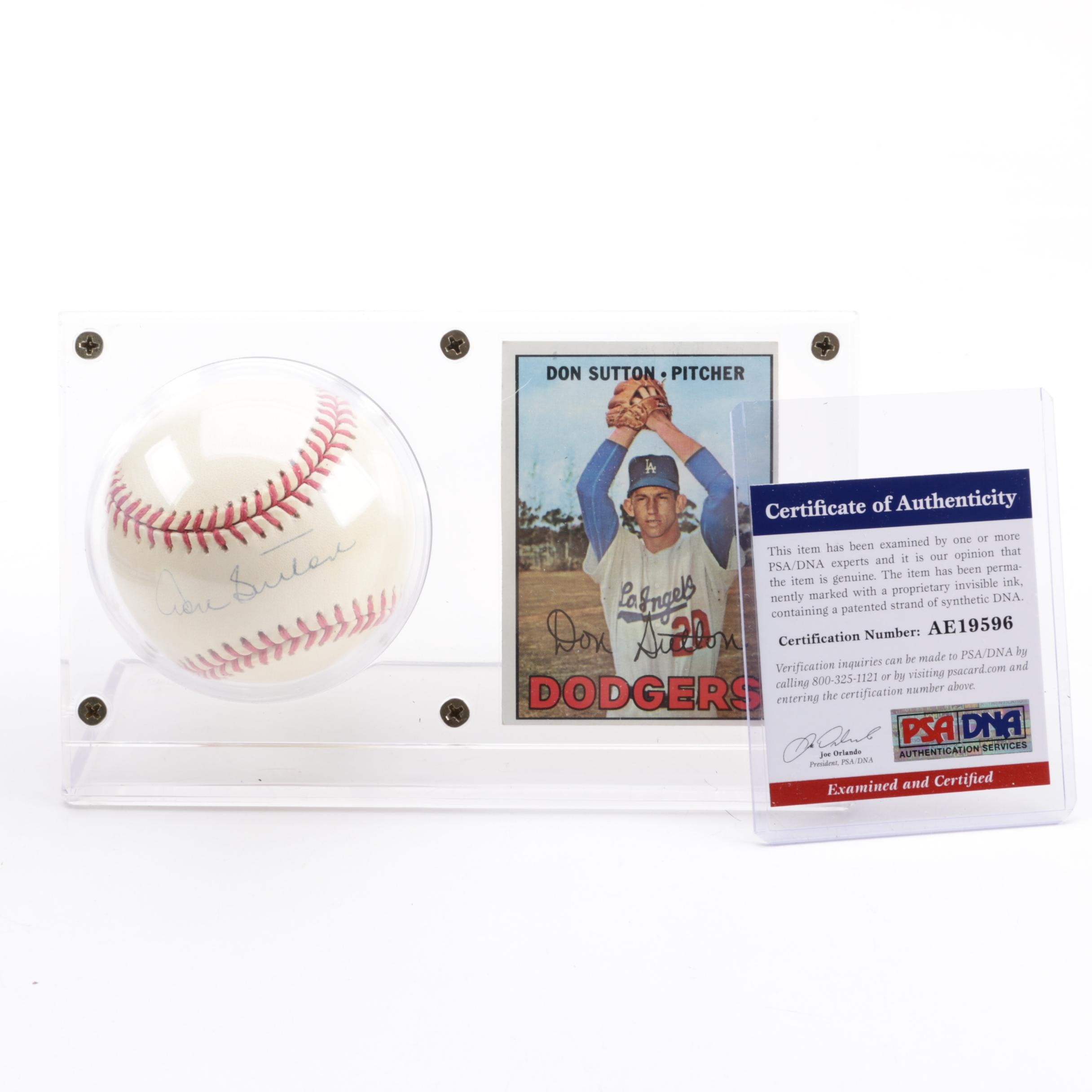 Don Sutton (HOF) Autographed Baseball with 1967 Topps #445 Card - PSA/DNA COA