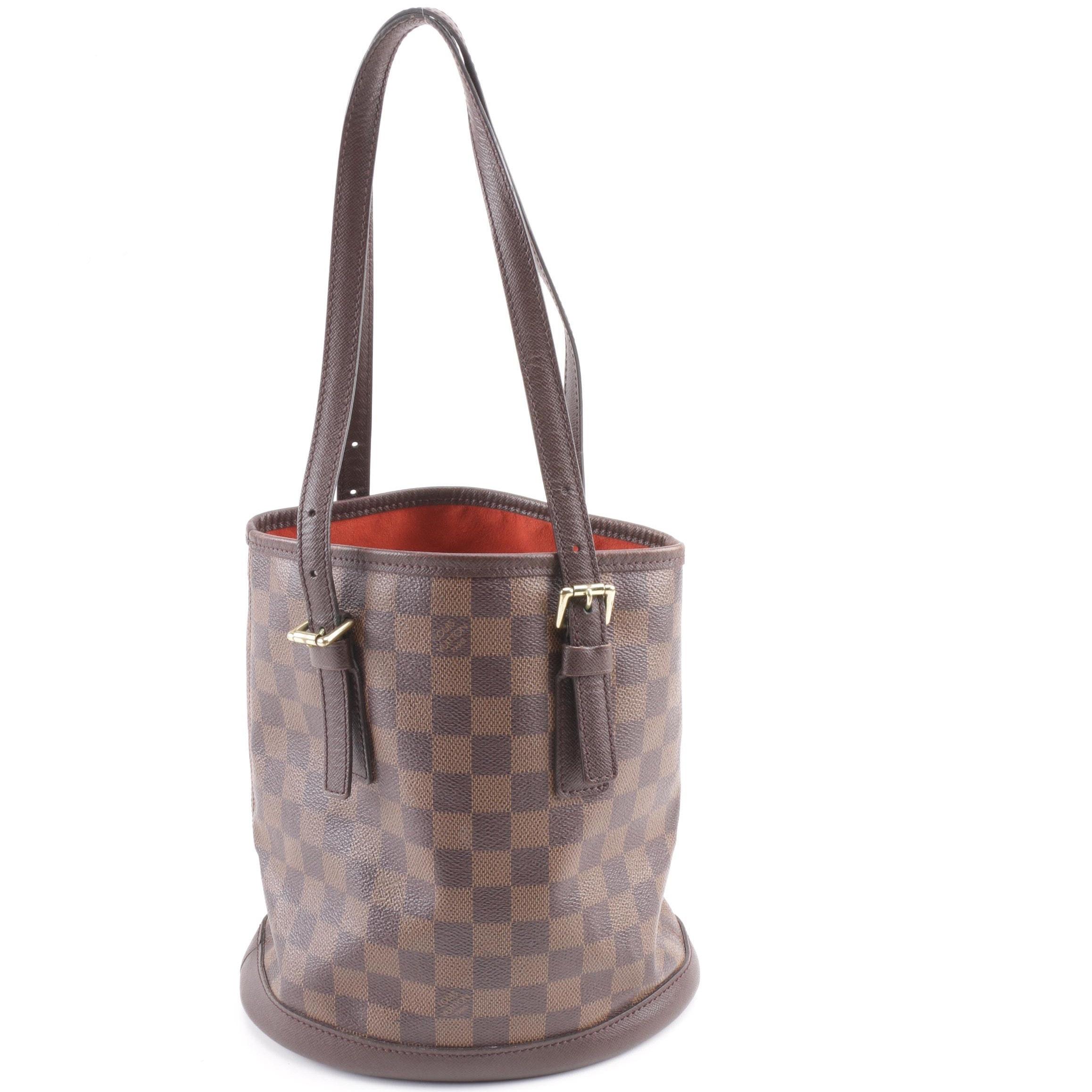 2000 Louis Vuitton Paris Damier Ebene Canvas Petite Bucket Bag