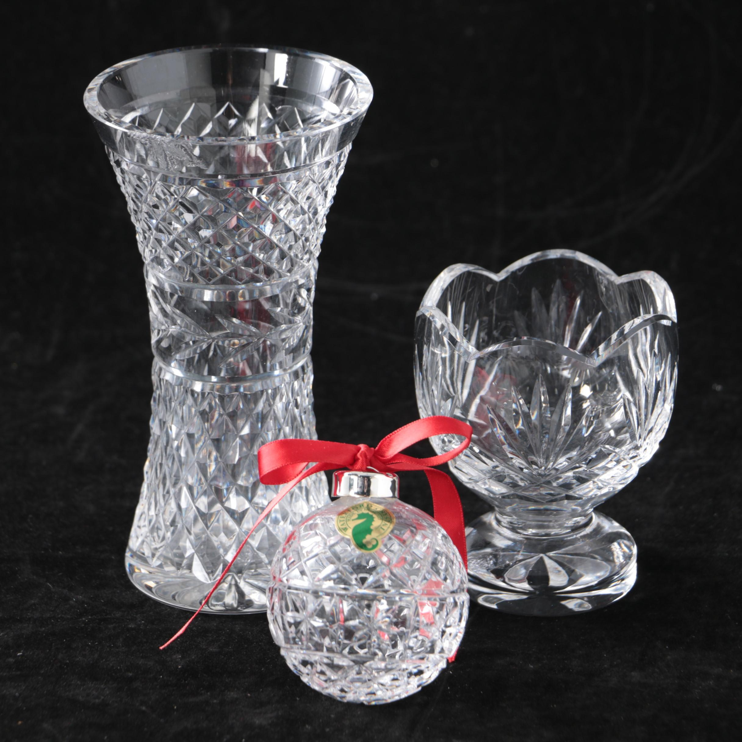 "Waterford Crystal ""Glandore"" Vase, Votive Holder, and Ornament"