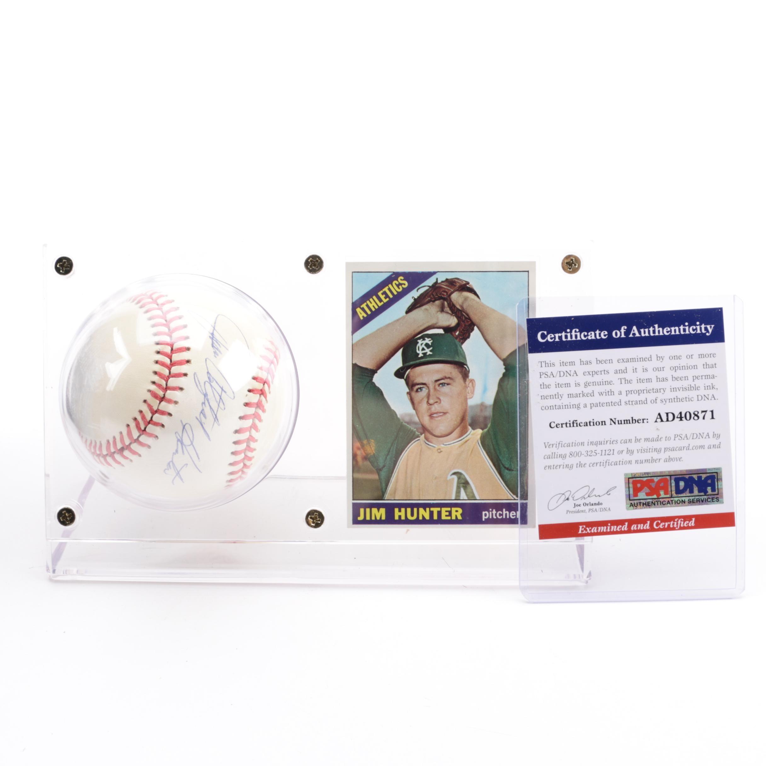 "Jim ""Catfish"" Hunter (HOF) Autographed Baseball with 1966 Topps Card - PSA/COA"