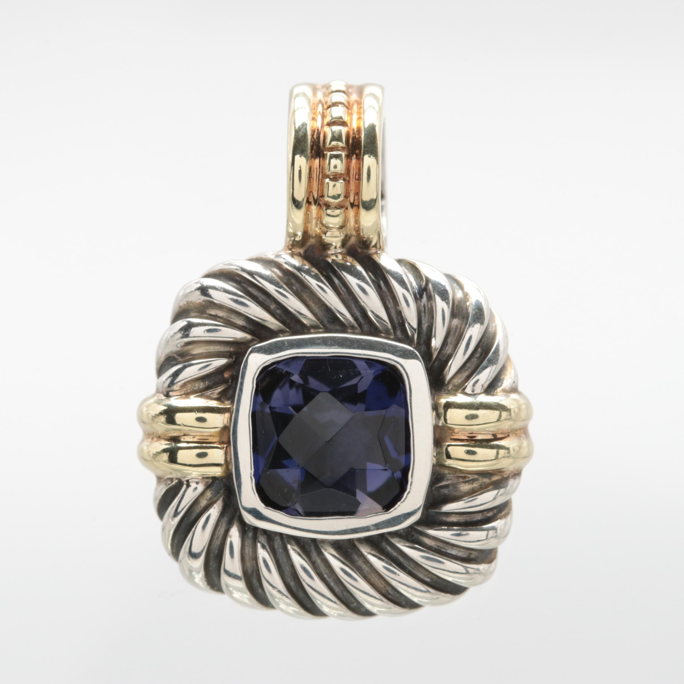David Yurman Sterling Silver Iolite Cable Pendant with 14K Yellow Gold Accents