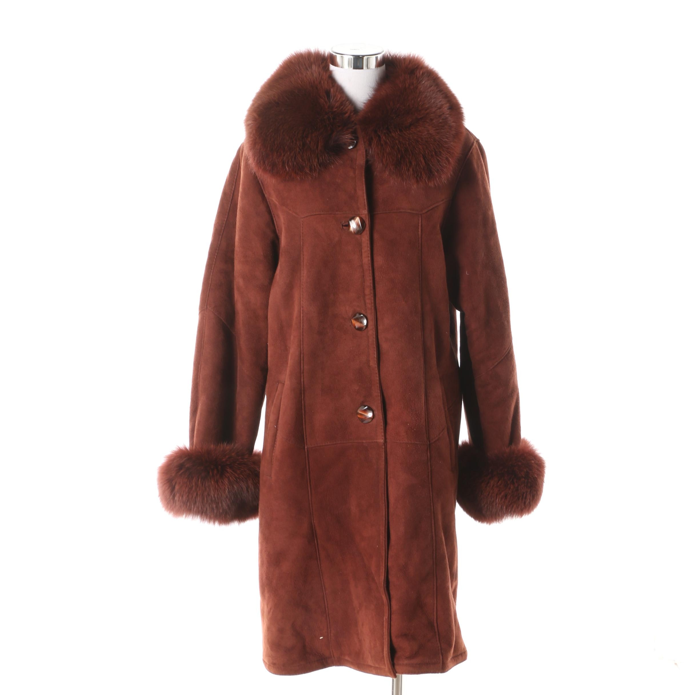 Women's Harlin Rust Brown Suede and Shearling Coat with Dyed Fox Fur Trim