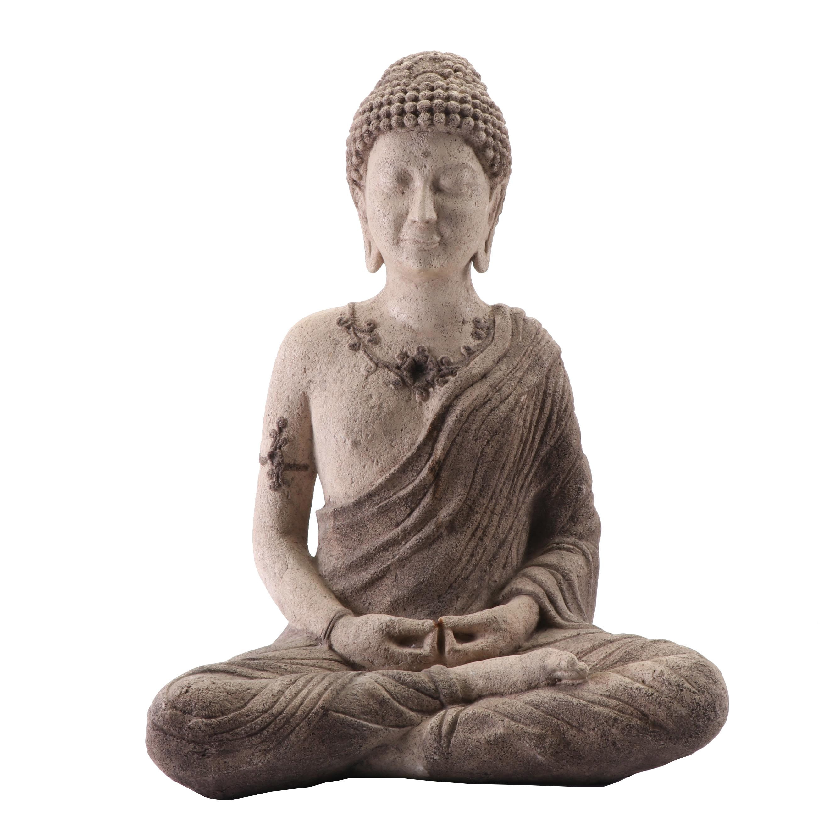 Seated Buddha Cast Plaster Sculpture