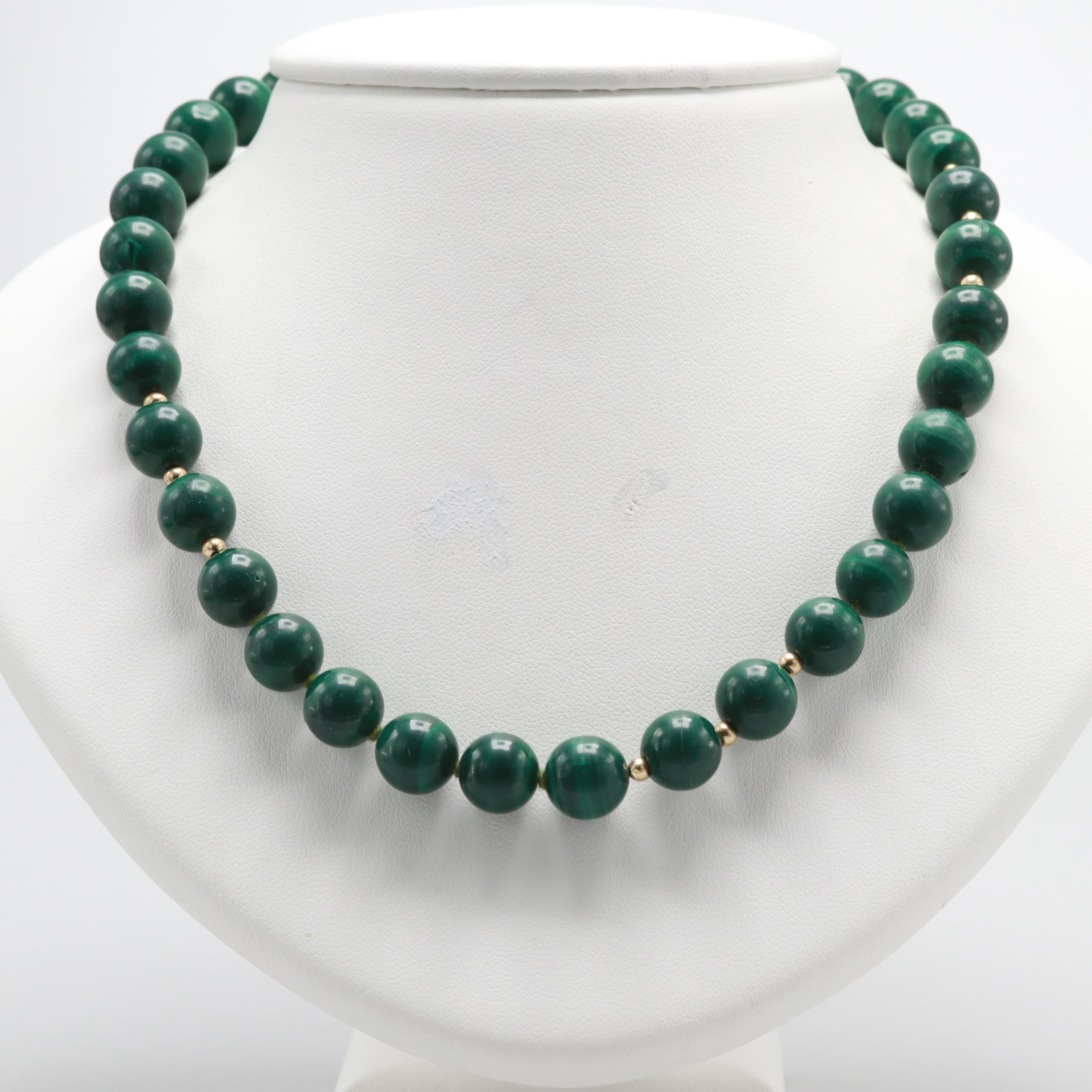 14K Yellow Gold Malachite Hand-Knotted Beaded Necklace
