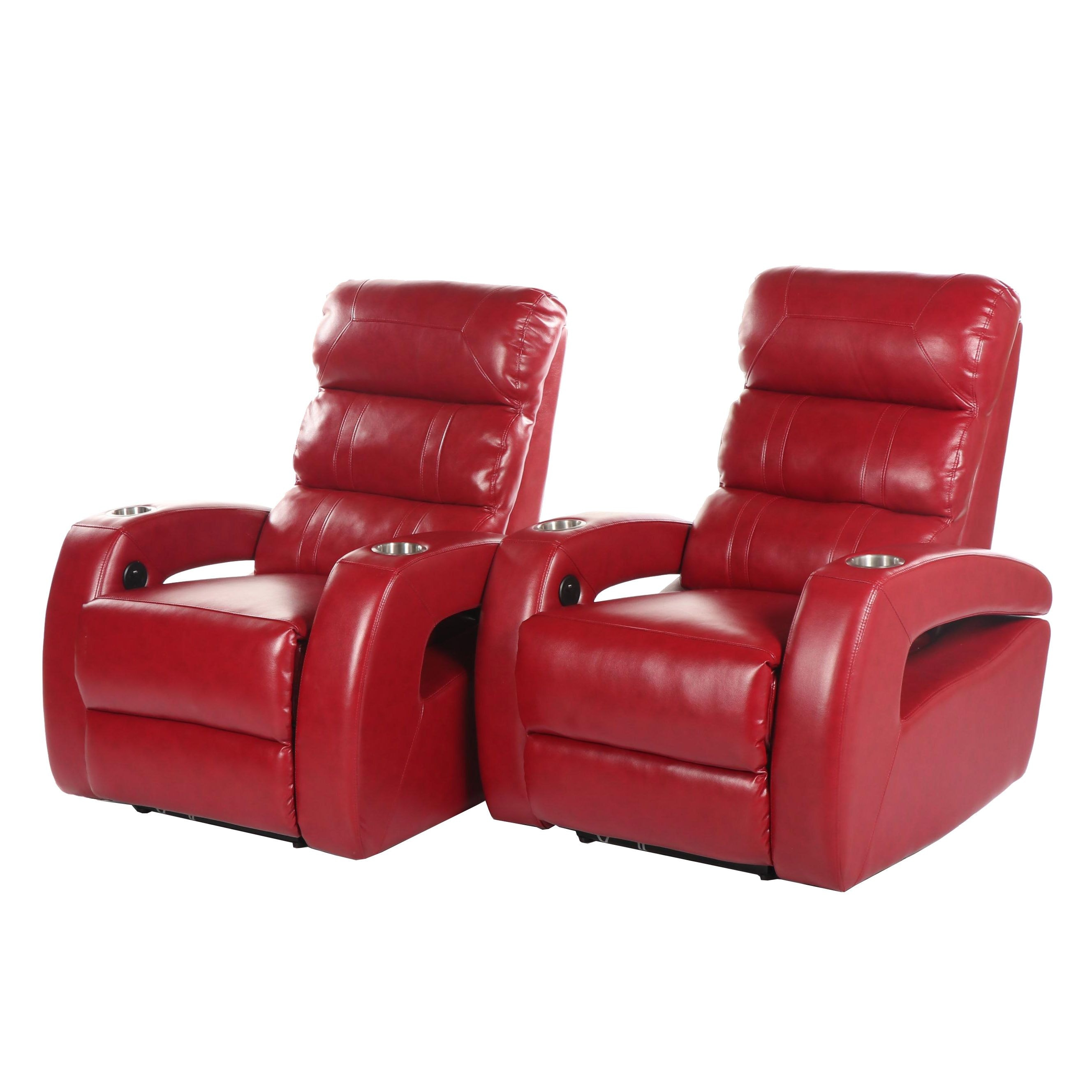 Leather Upholstered Home Theater Seats with Storage Console, 21st Century