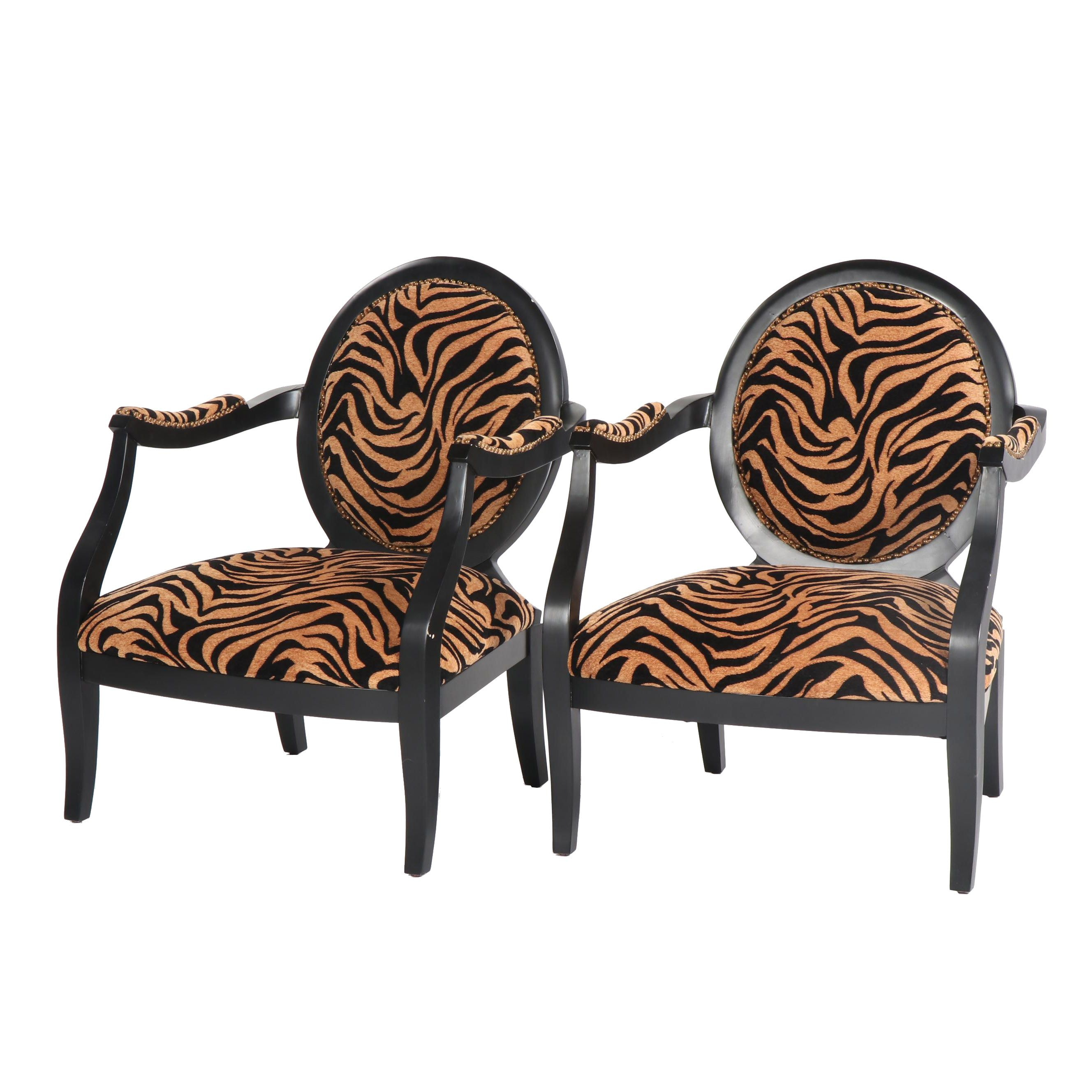 Upholstered Painted Wood Fauteuil Pair, 21st Century