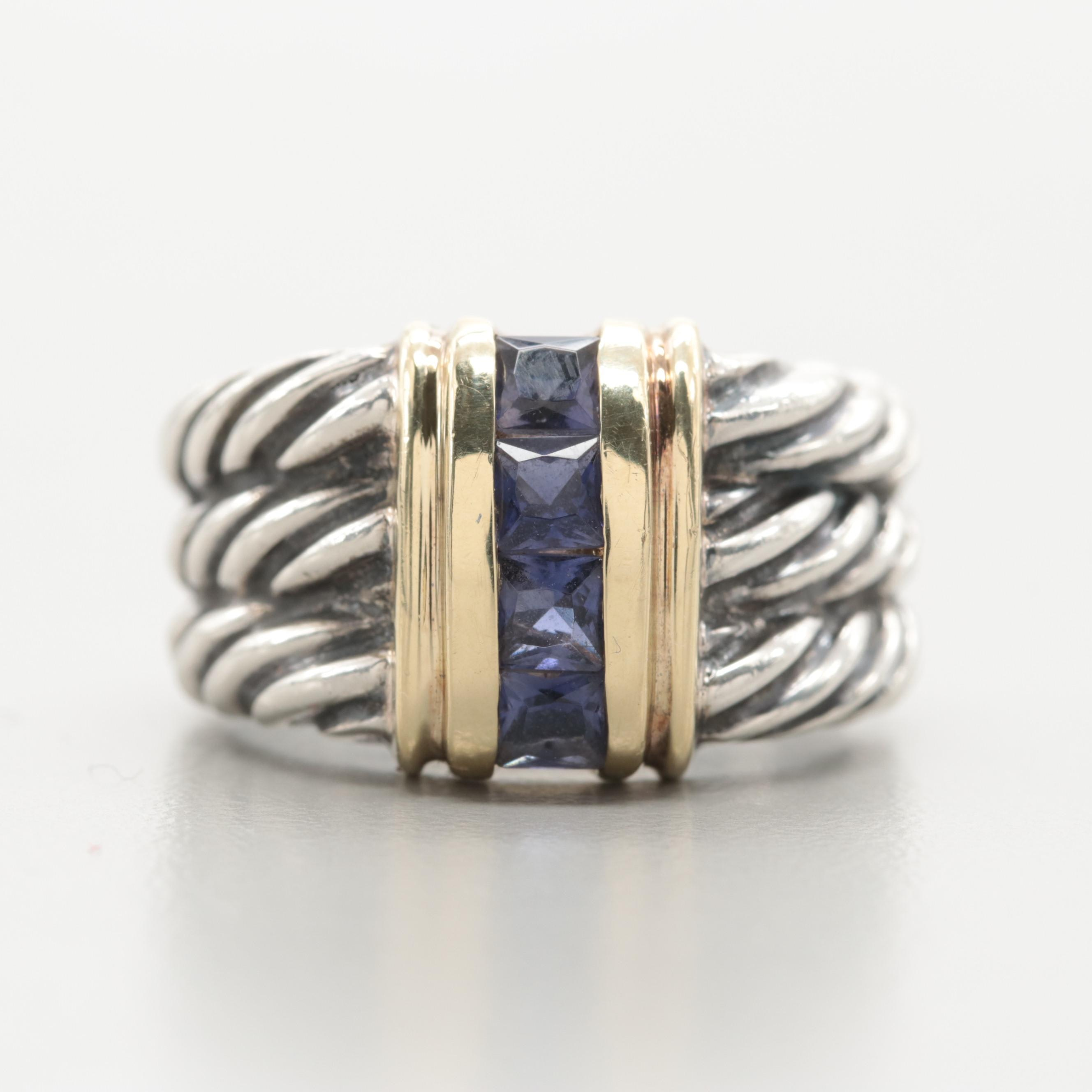 David Yurman Sterling Silver Iolite Cable Band Ring with 14K Yellow Gold Accents