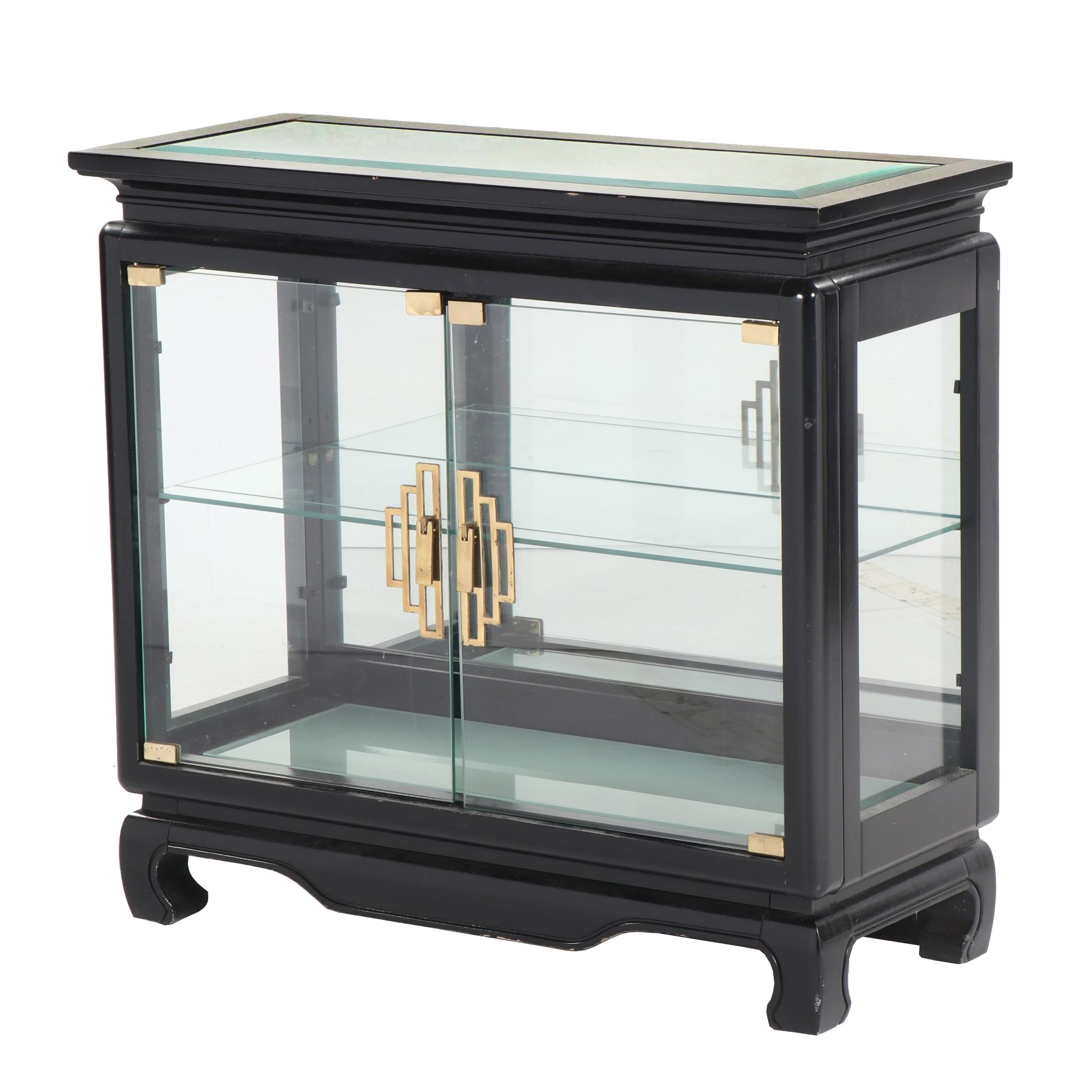 Chinese Style Painted Wood Display Cabinet, 20th Century