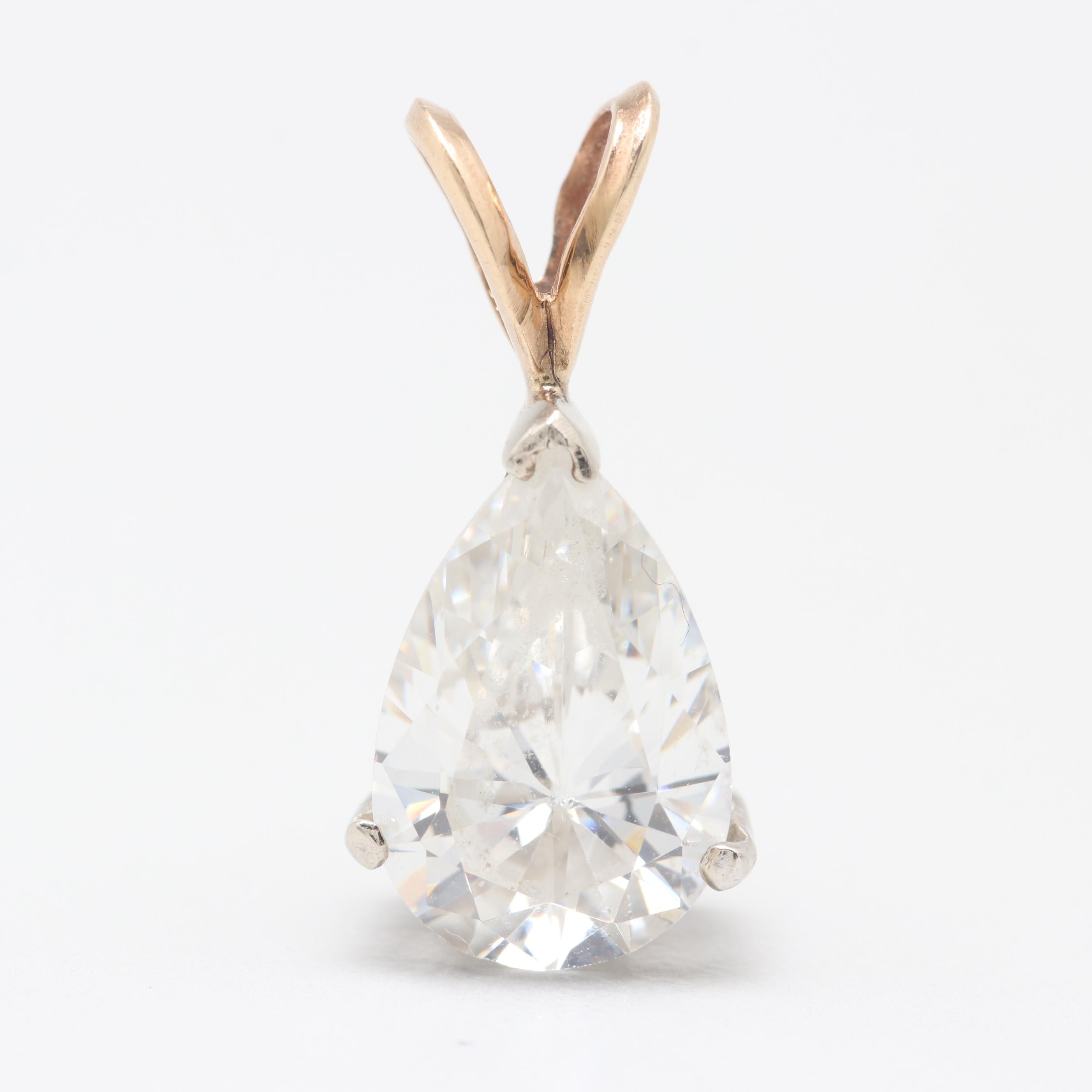 14K White and Yellow Gold Cubic Zirconia Pendant