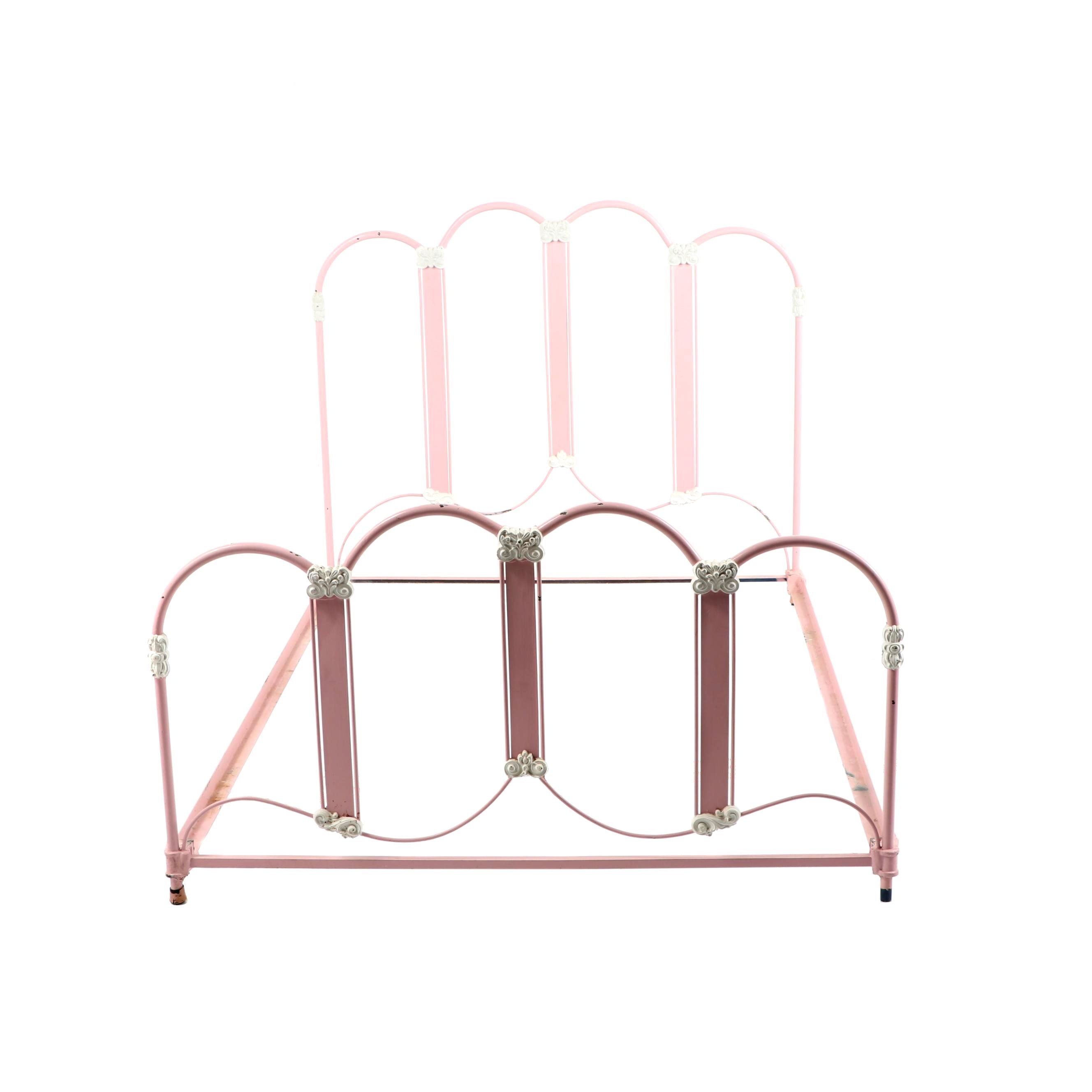 Painted Metal Full Size Bed Frame, Late 19th Century
