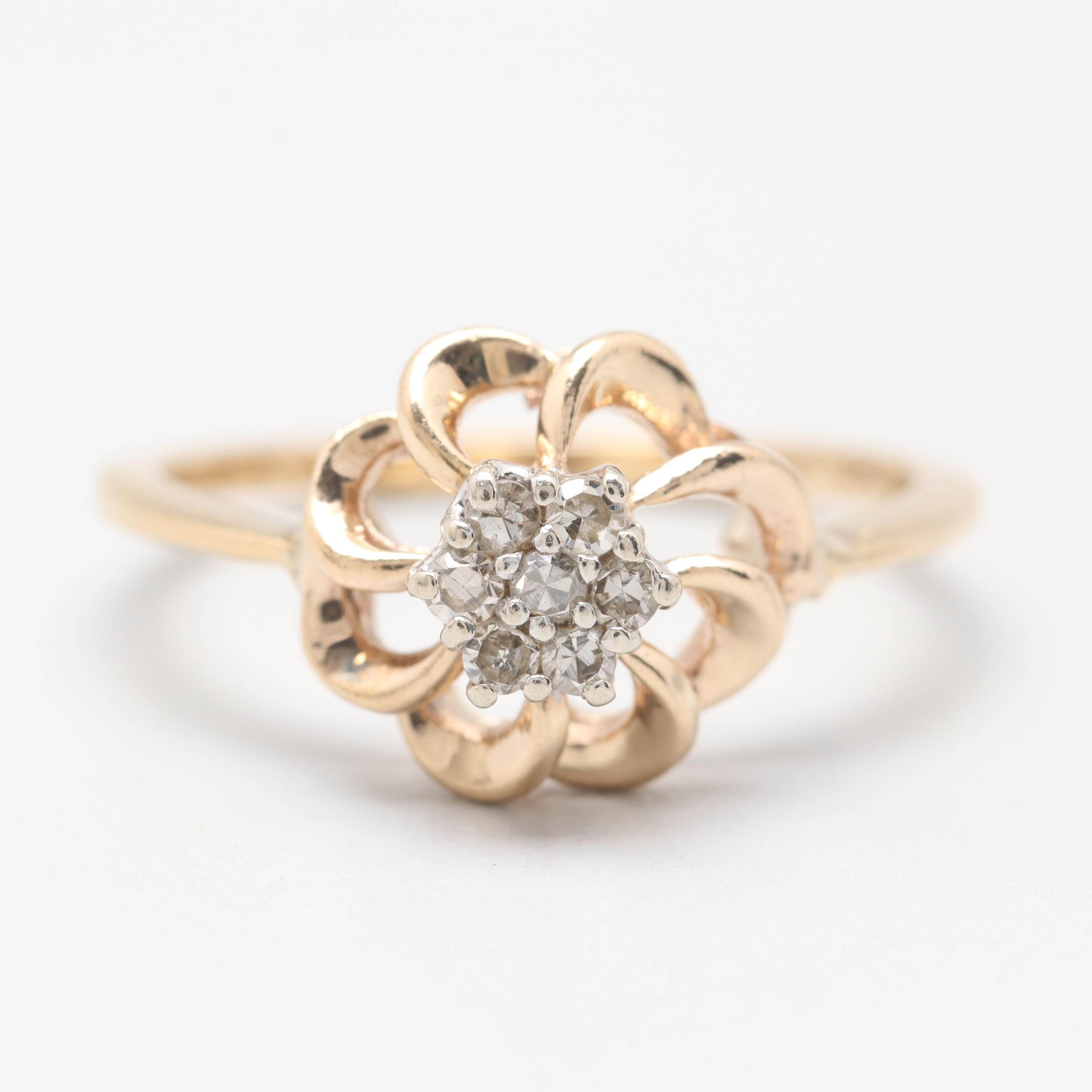 14K Yellow Gold Floral Diamond Cluster Ring