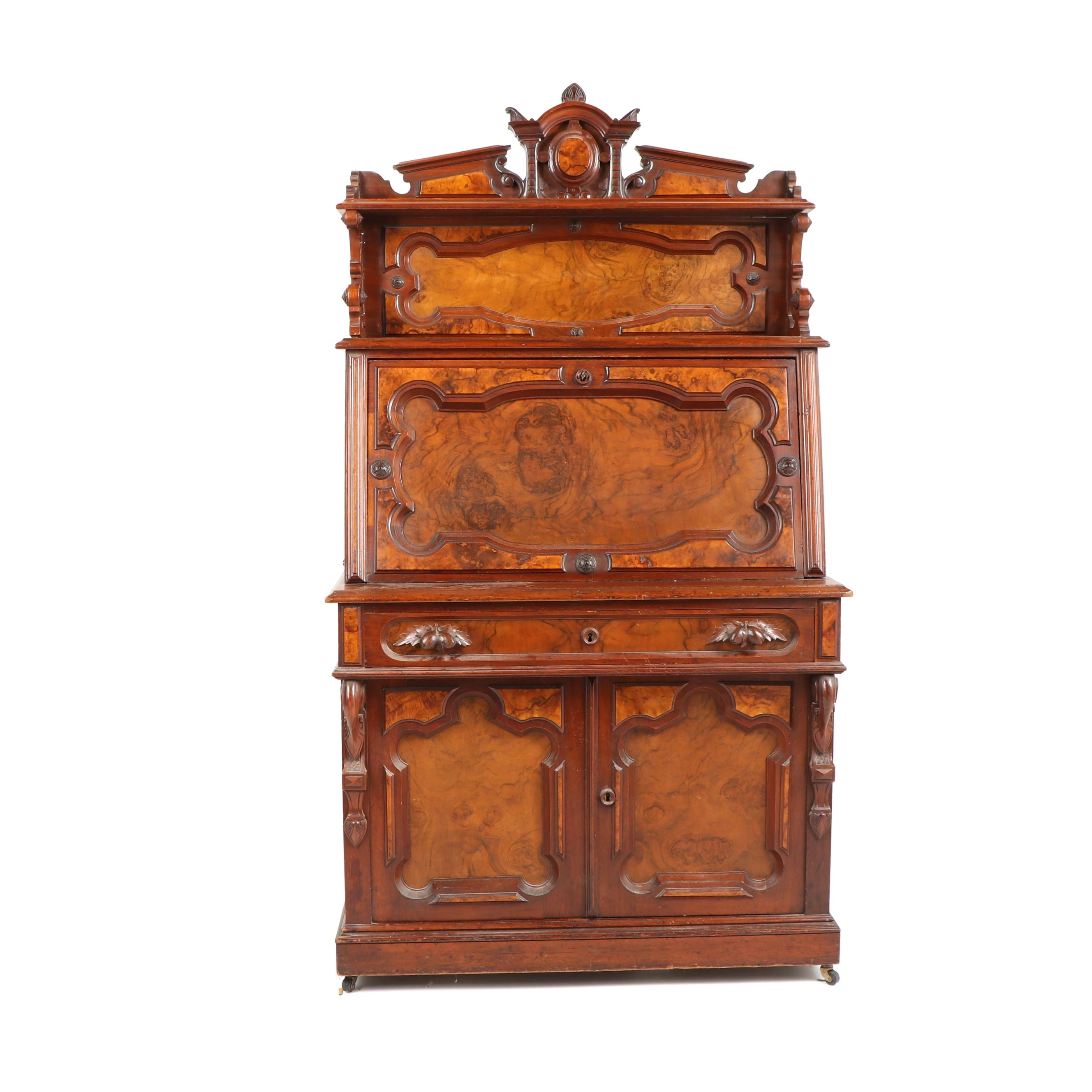 Eastlake Burl and Walnut Secretary, 19th Century
