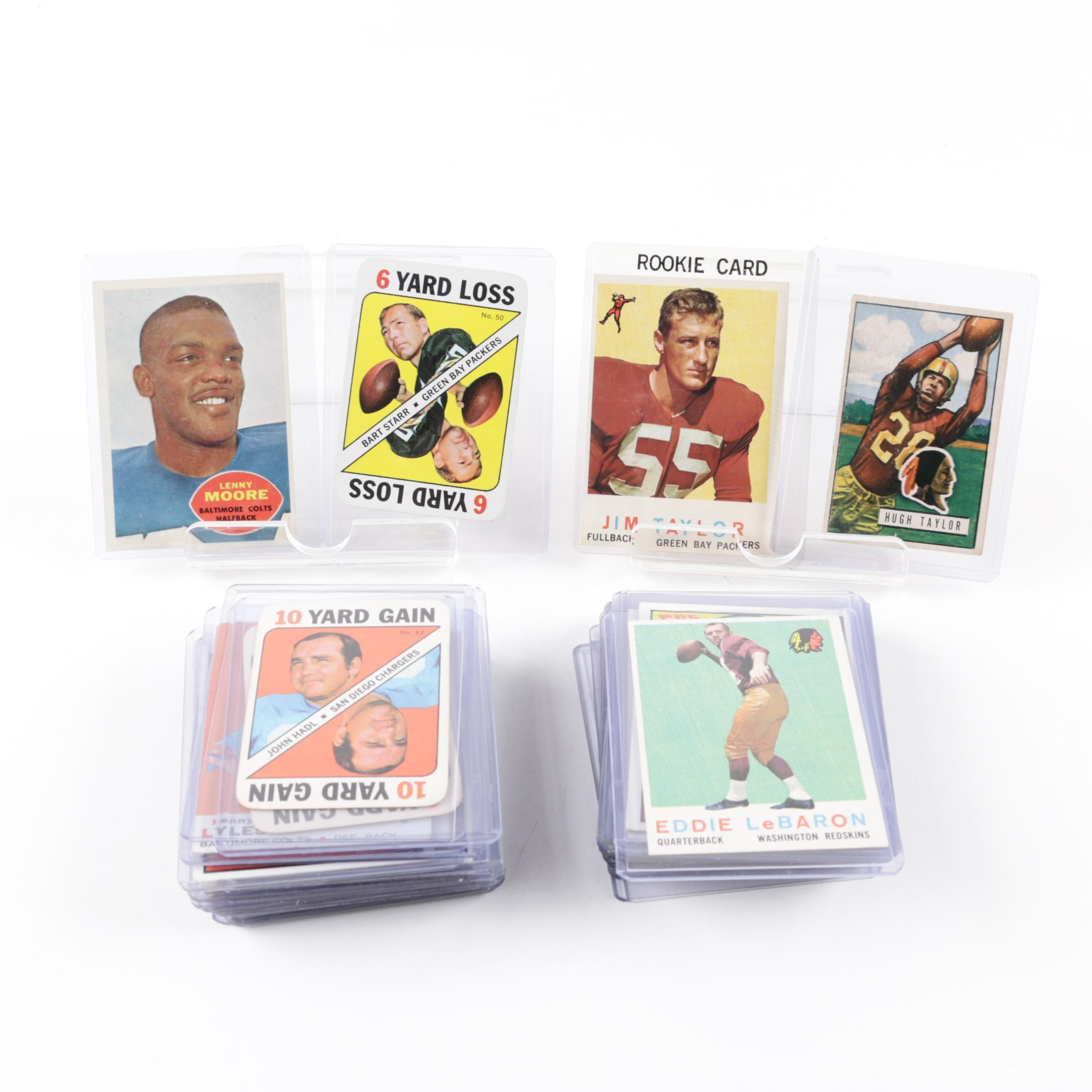 Vintage Football Cards with Bart Starr (HOF), Joe Namath(HOF), Jim Taylor Rookie