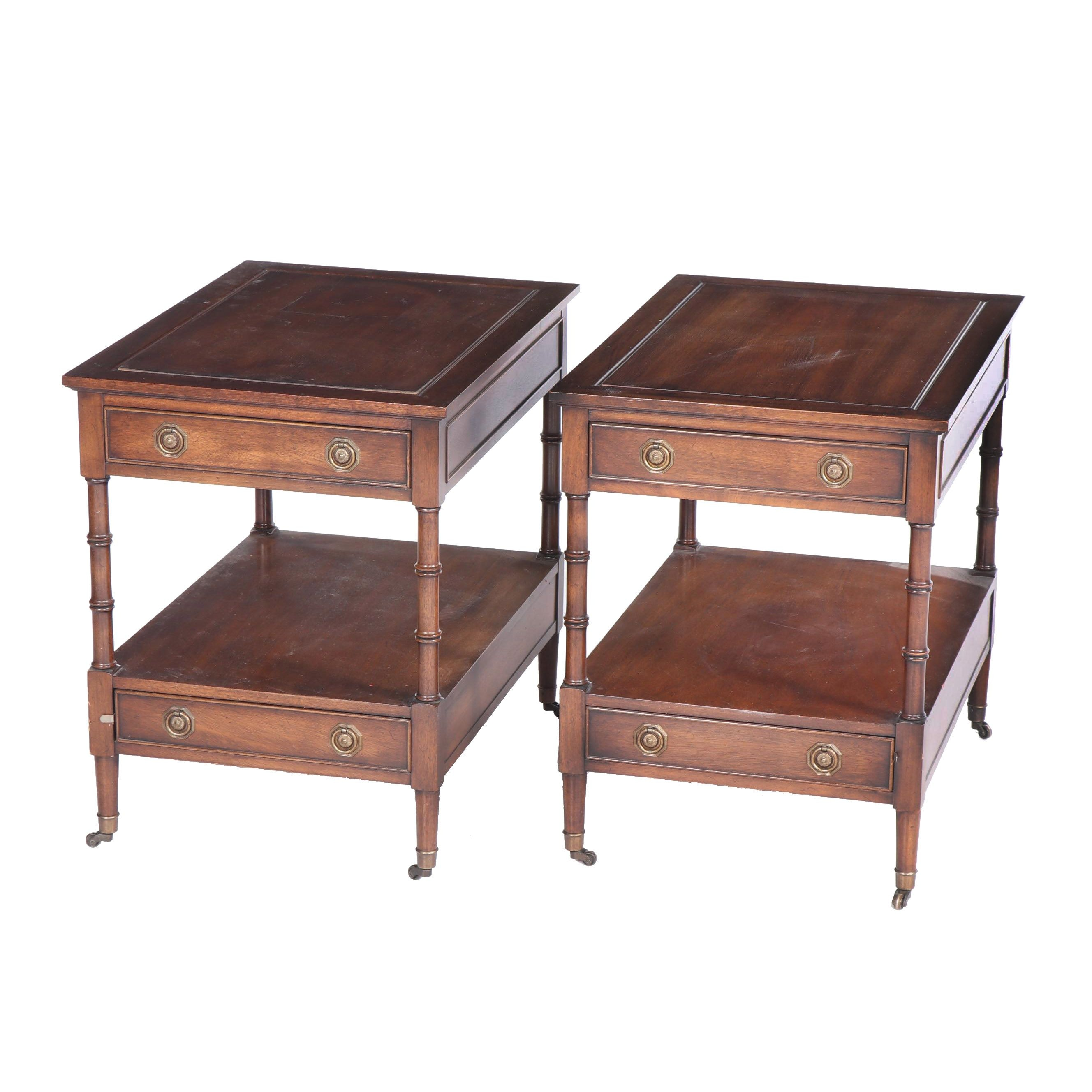 Federal Style Mahogany End Tables by Hekman, Late 20th Century