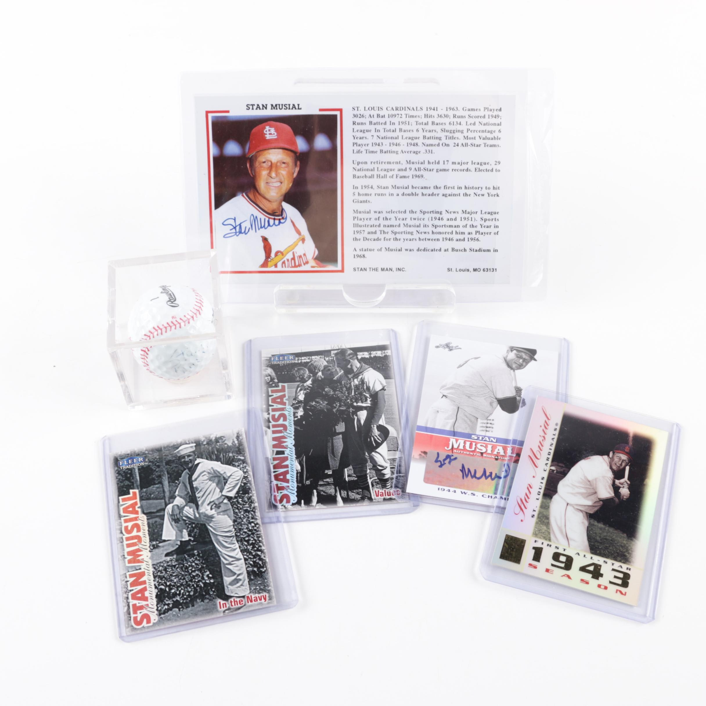 Stan Musial (HOF) Autographed Photo (PSA) with Autographed Ball and Cards