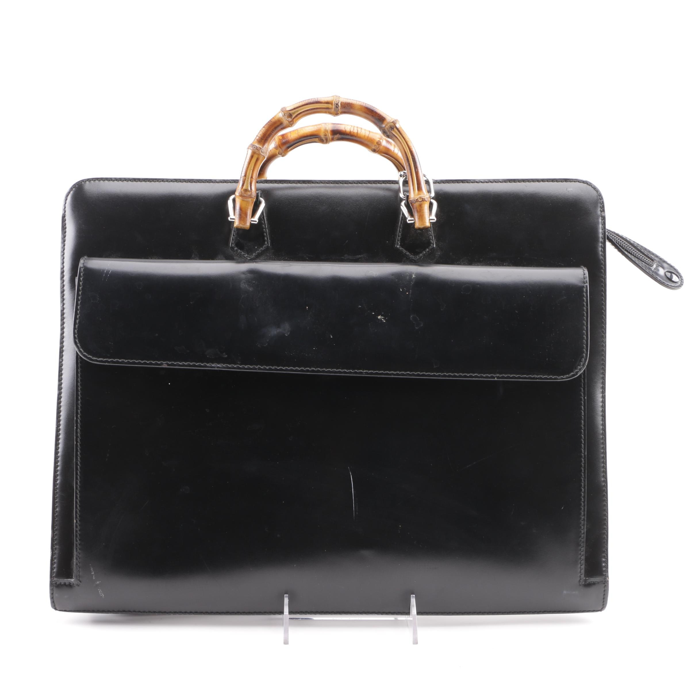 Gucci Black Leather Briefcase with Bamboo Handles