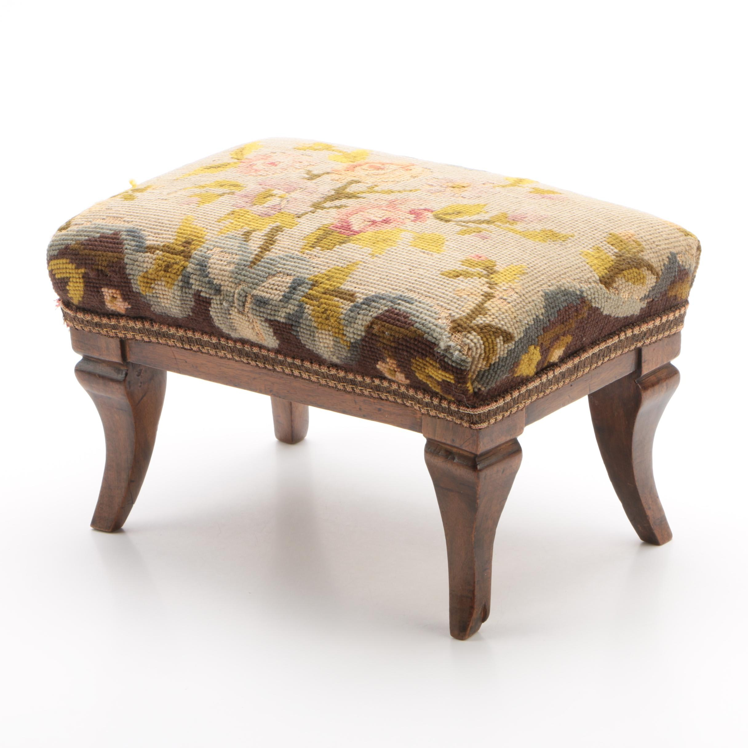 Upholstered Walnut Footstool, 20th Century