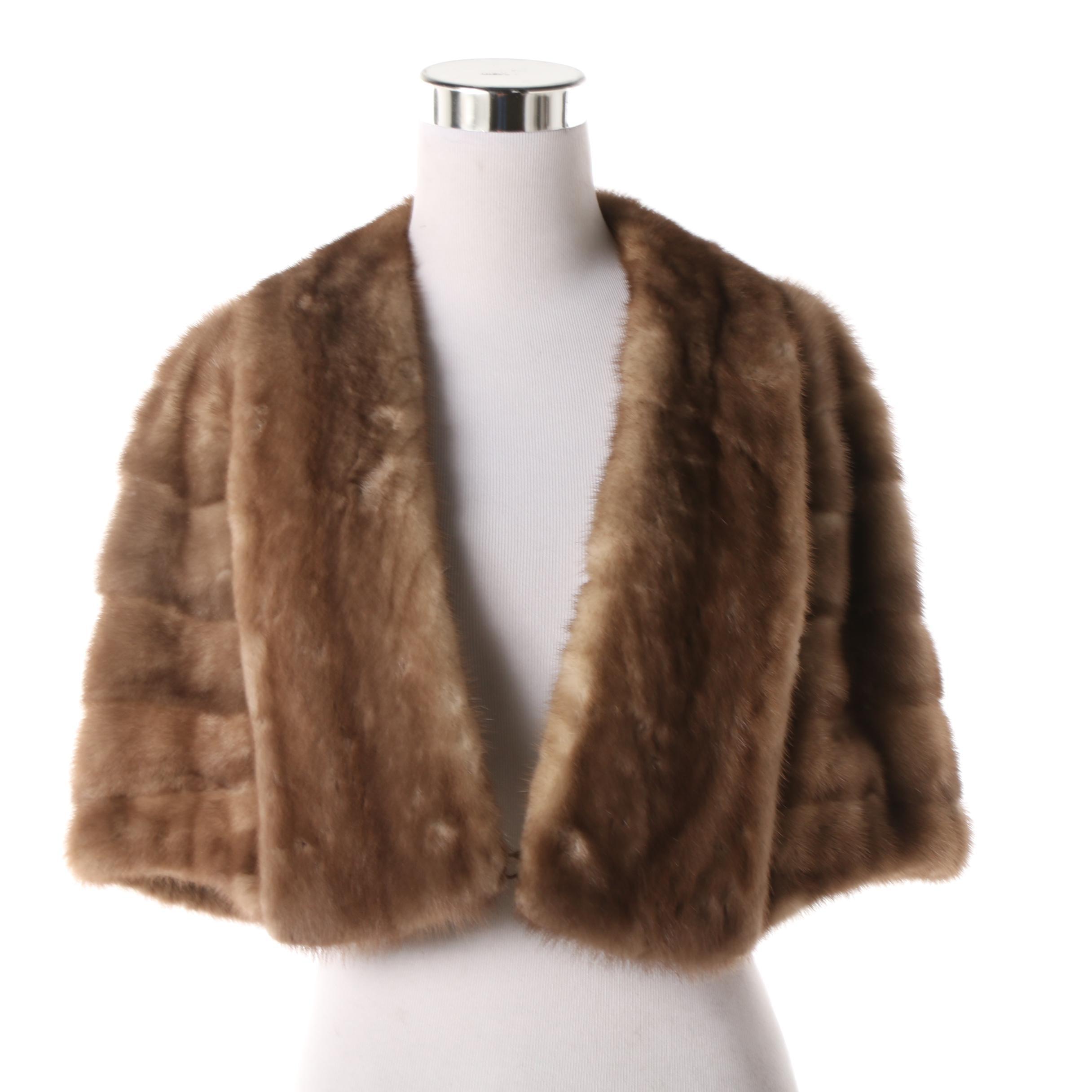 Women's Vintage S. Brody Furs Pastel Mink Fur Stole