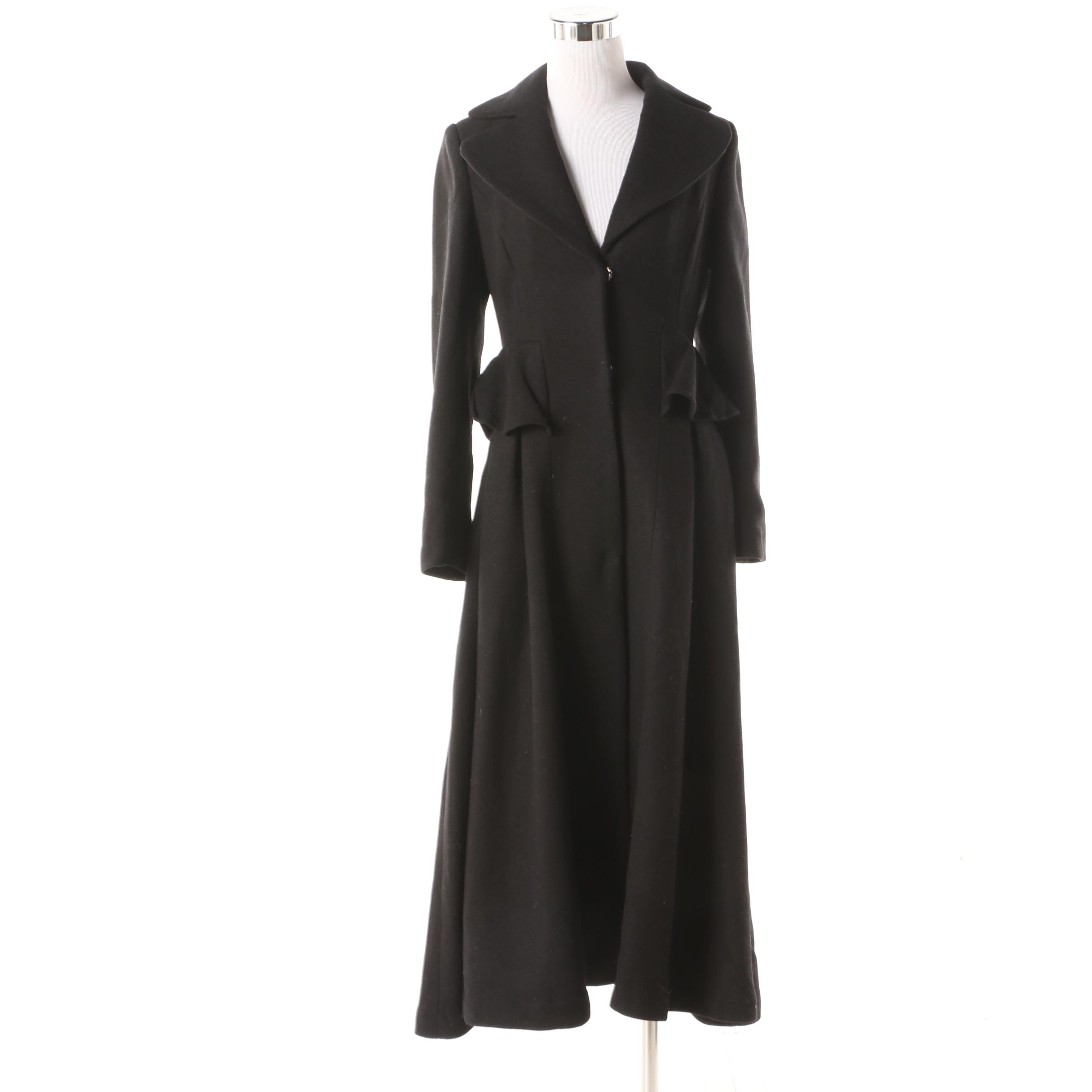 Women's Black Wool Blend Peplum Full-Length Coat