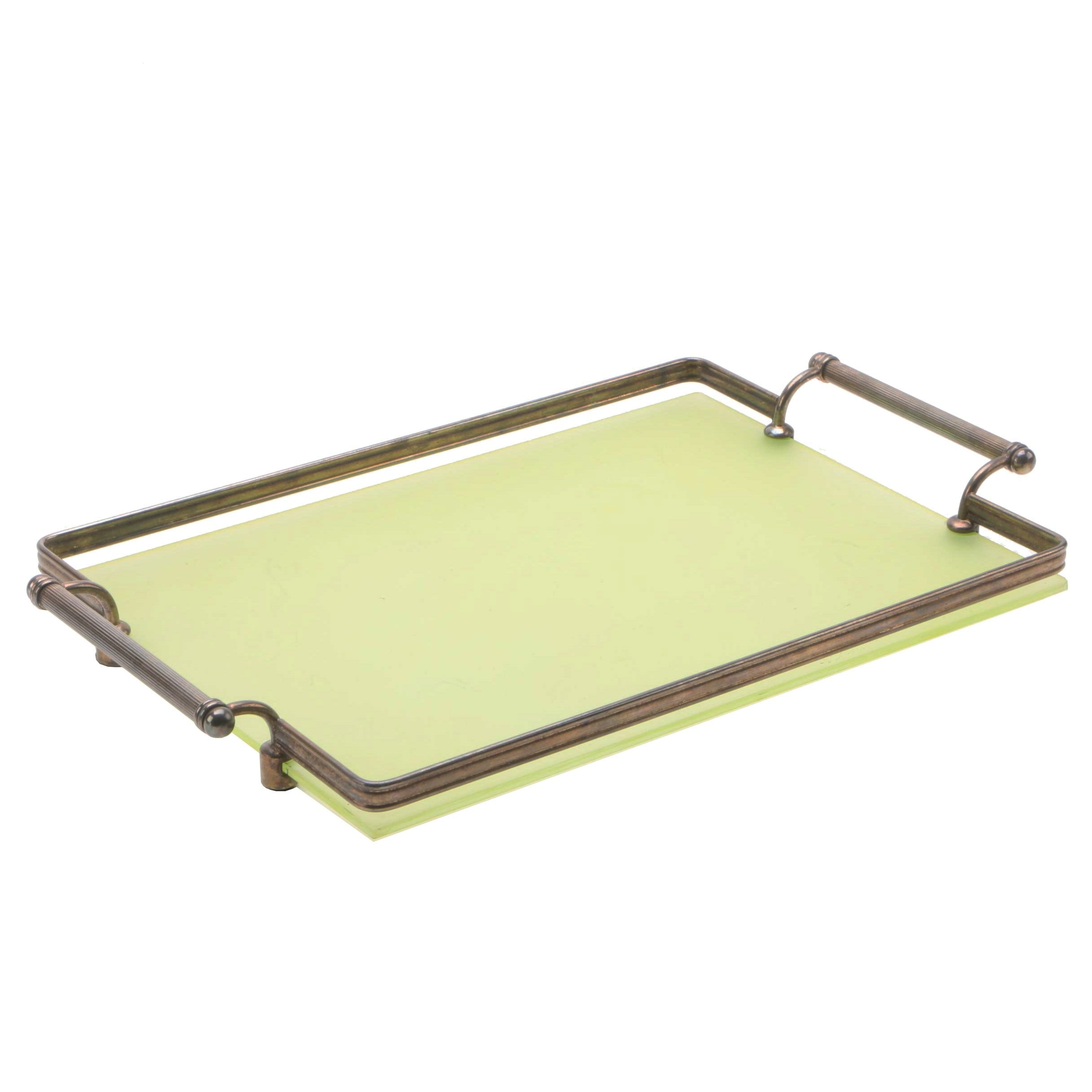 Vintage Frosted Green Glass Serving Tray with Silver Plate Frame