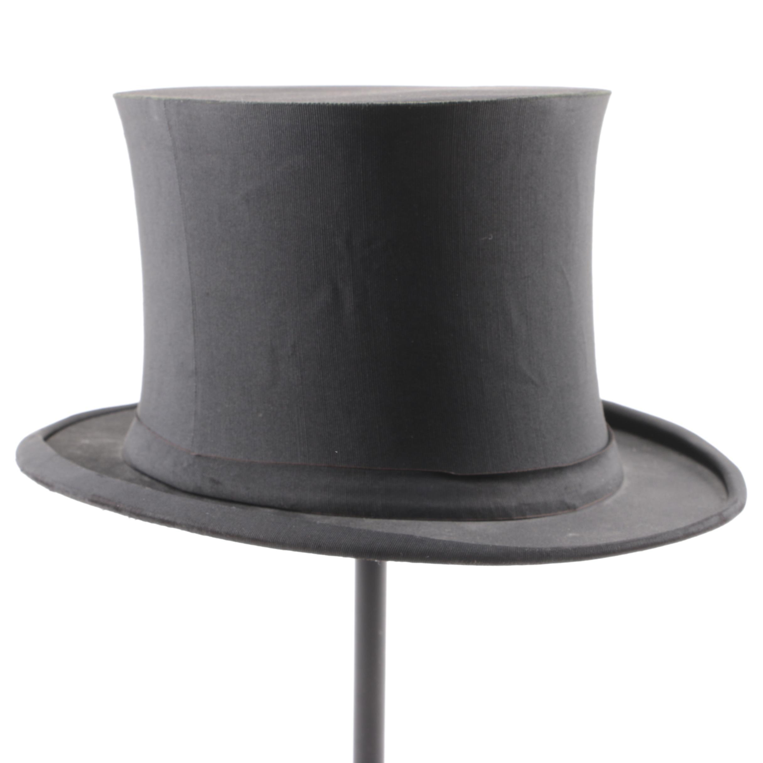 Men's Early 20th Century Kennedy's of Boston Collapsible Black Silk Top Hat