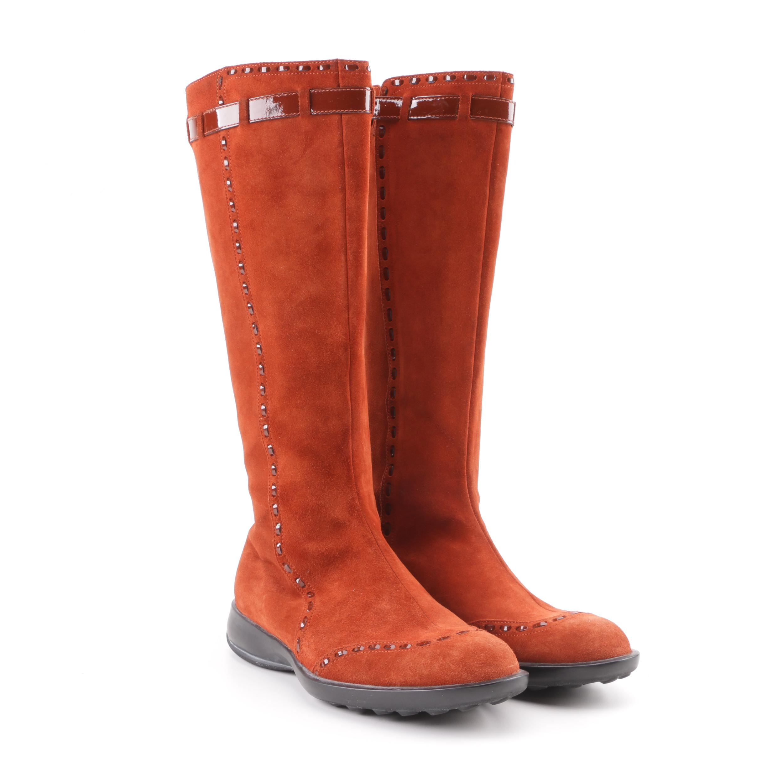Women's Tod's Burnt Orange Suede and Patent Leather Boots