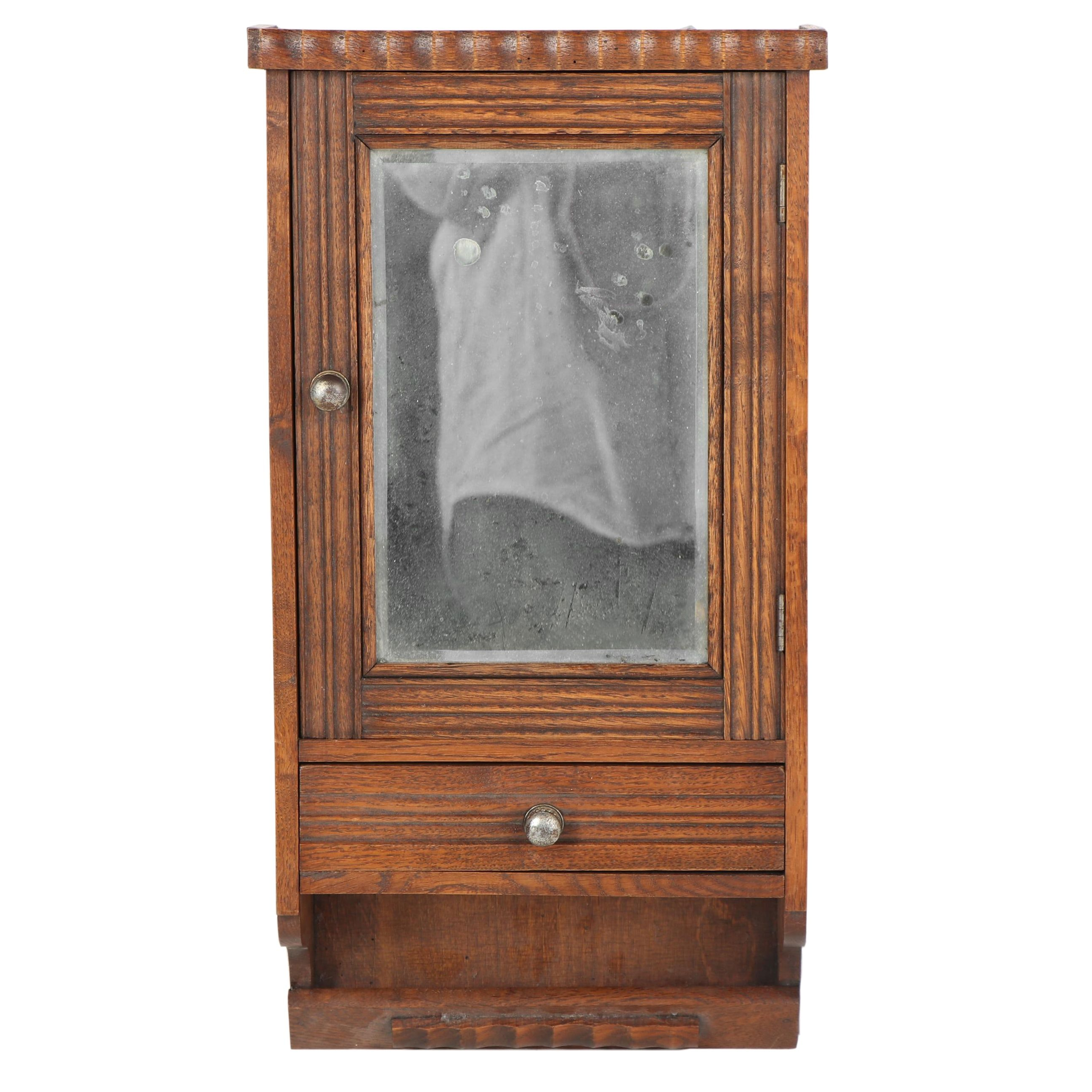 Oak Wall Cabinet with Mirror, Late 19th Century