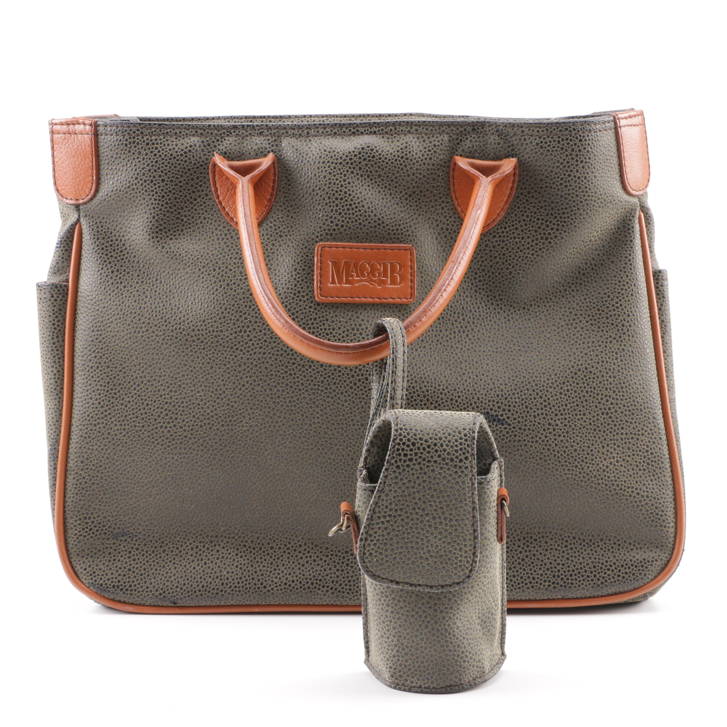 MaggiB Green and Tan Faux Leather Top Handle Bag