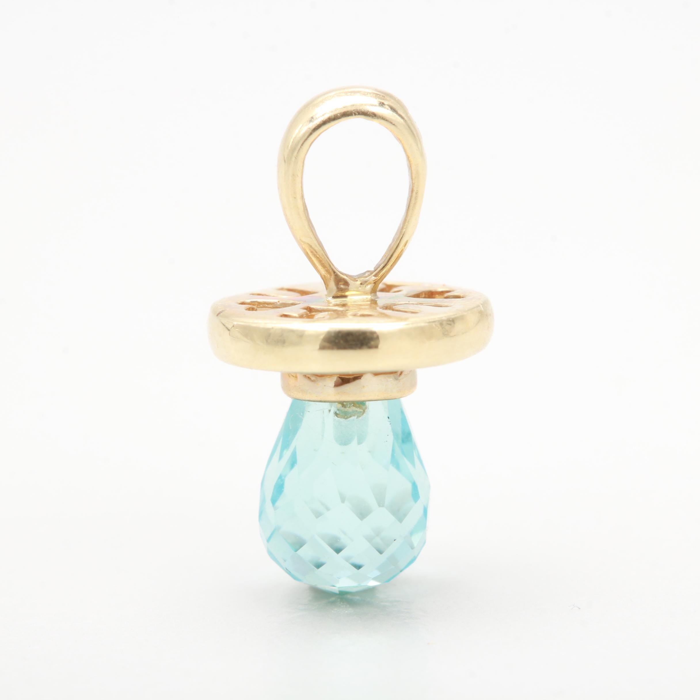 10K Yellow Gold Blue Glass Pacifier Pendant Charm
