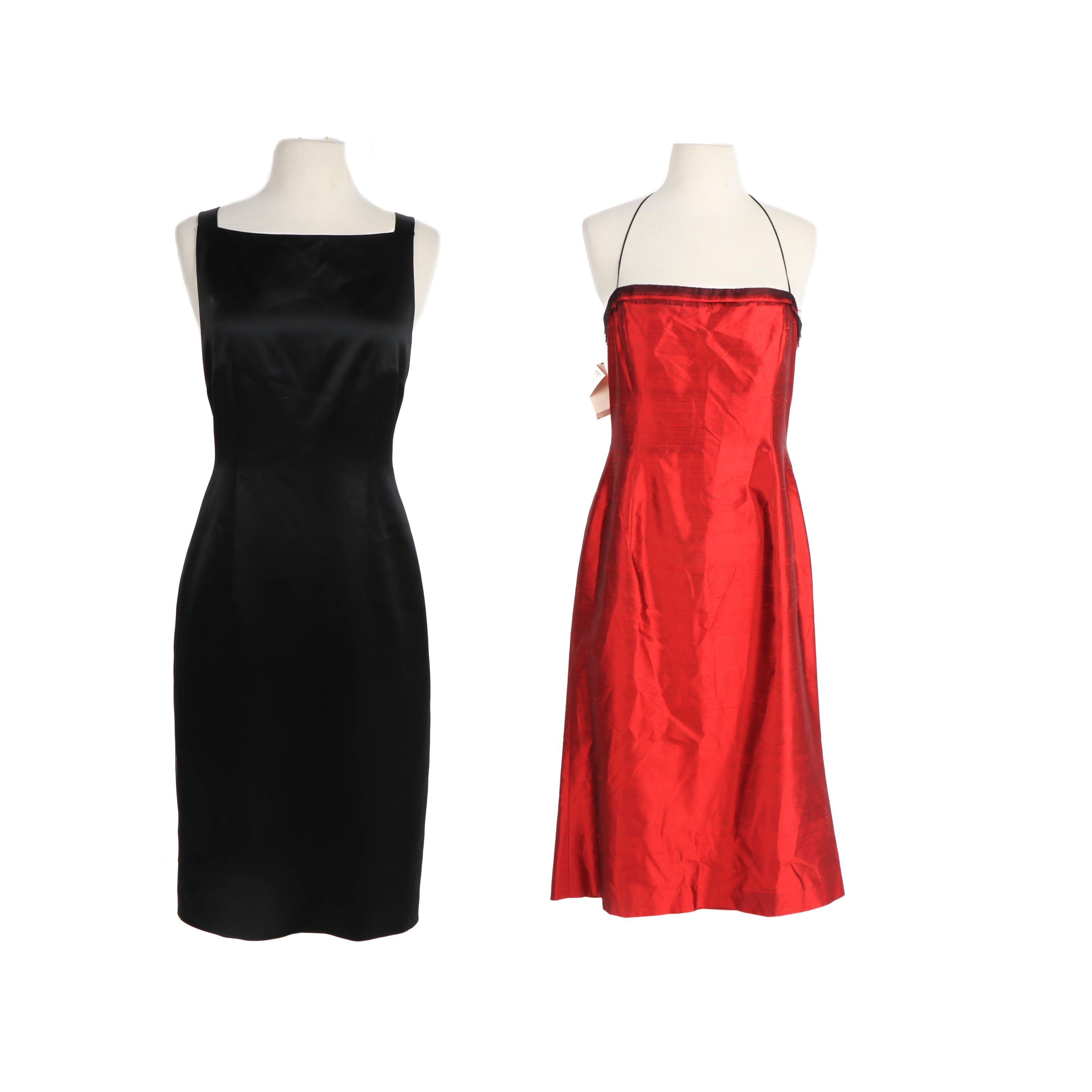 Tahari Black and Red Sleeveless Cocktail Dresses