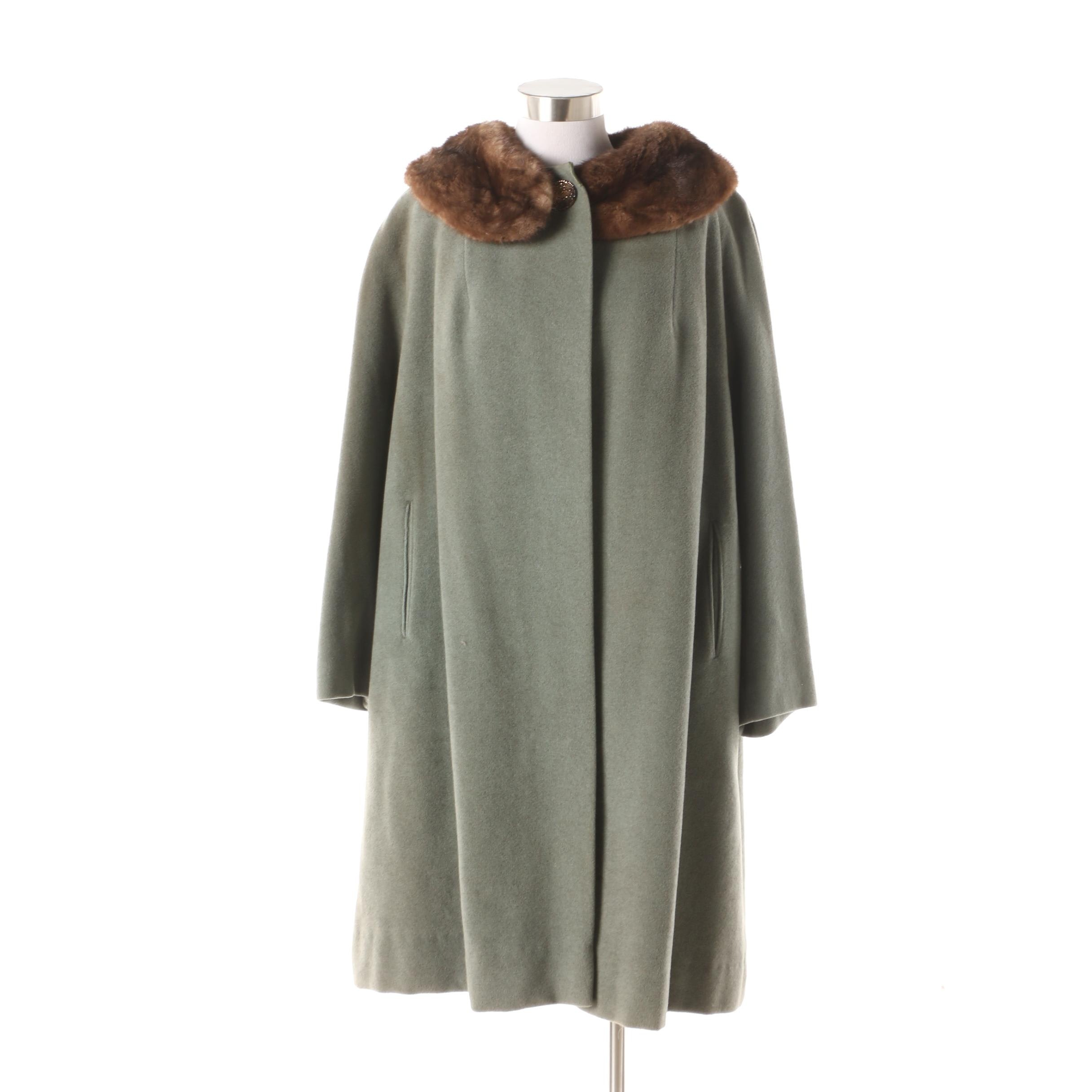 Women's Circa 1960s Vintage Shagmoor Wool Coat with Mink Fur Collar