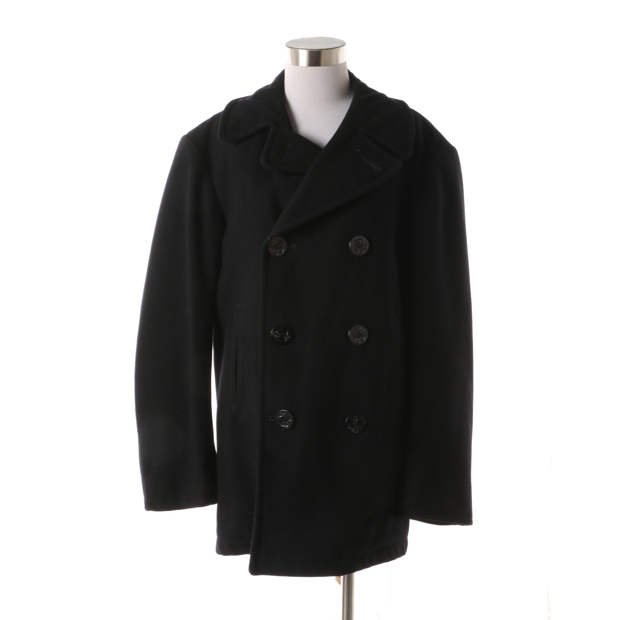 Men's Circa 1960s Vintage U.S. Navy Double-Breasted Black Wool Peacoat