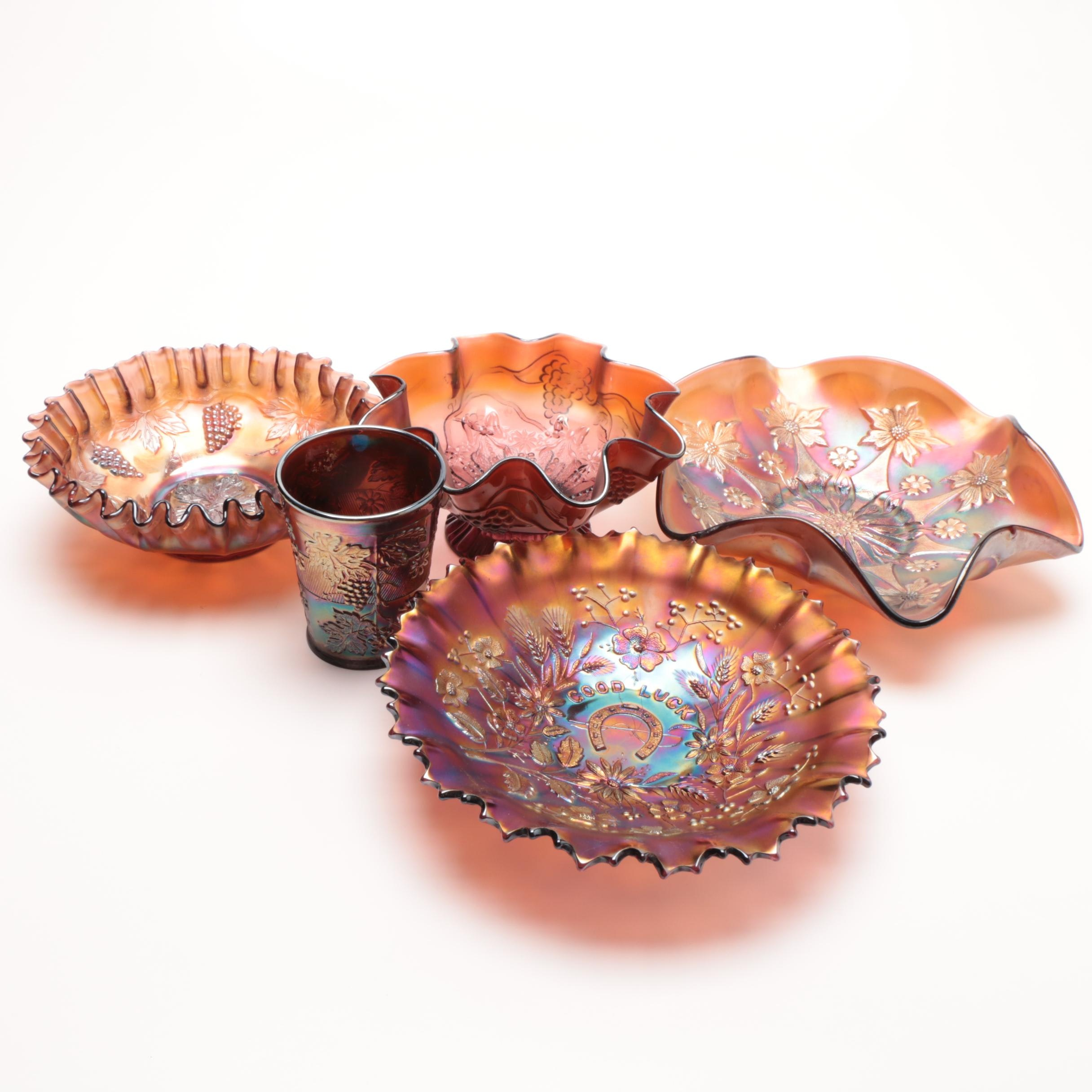 Group of Carnival Glass Serveware including Northwood