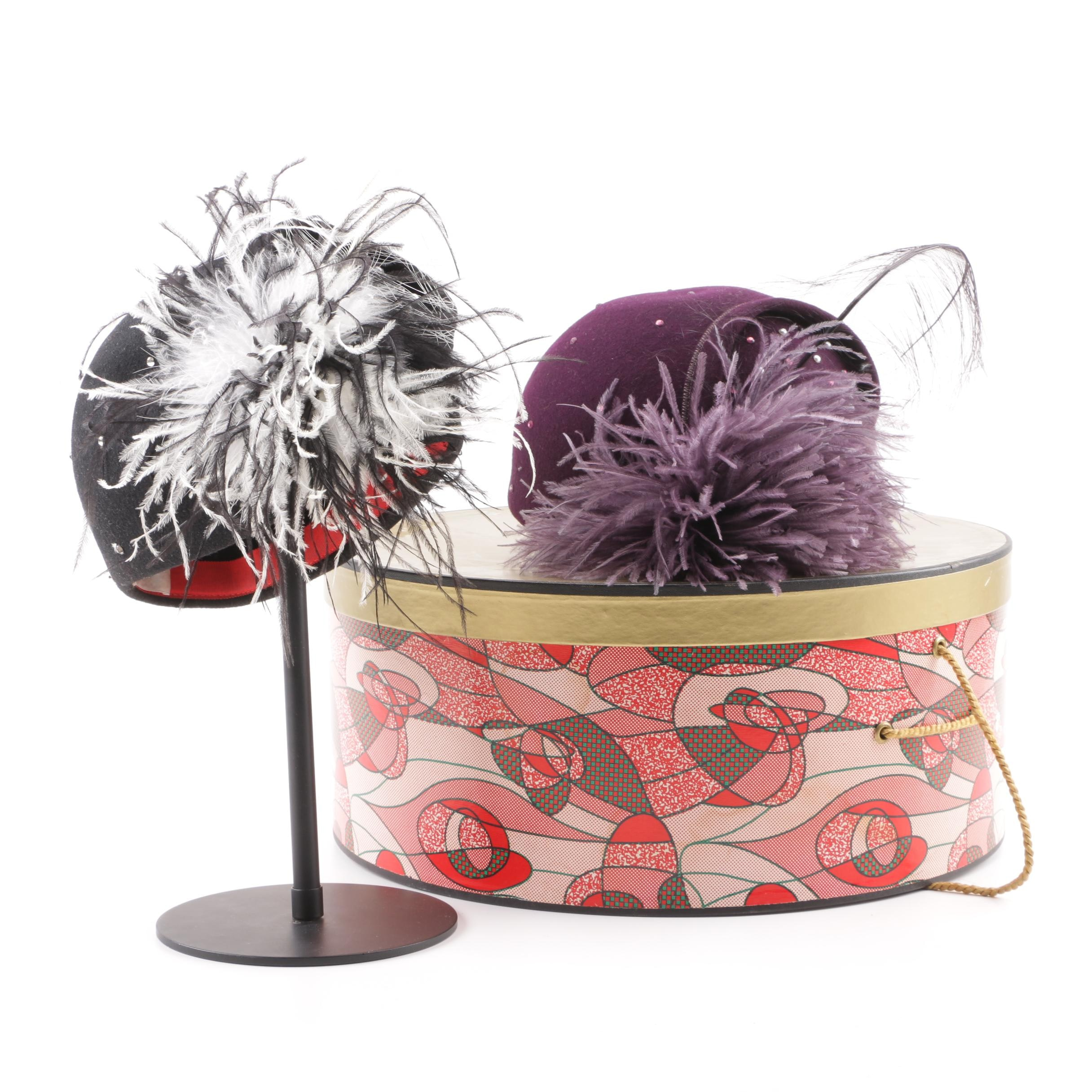 Vintage Kurt Jr by Tom Hann Purple and Black Beaded Caps with Ostrich Feathers