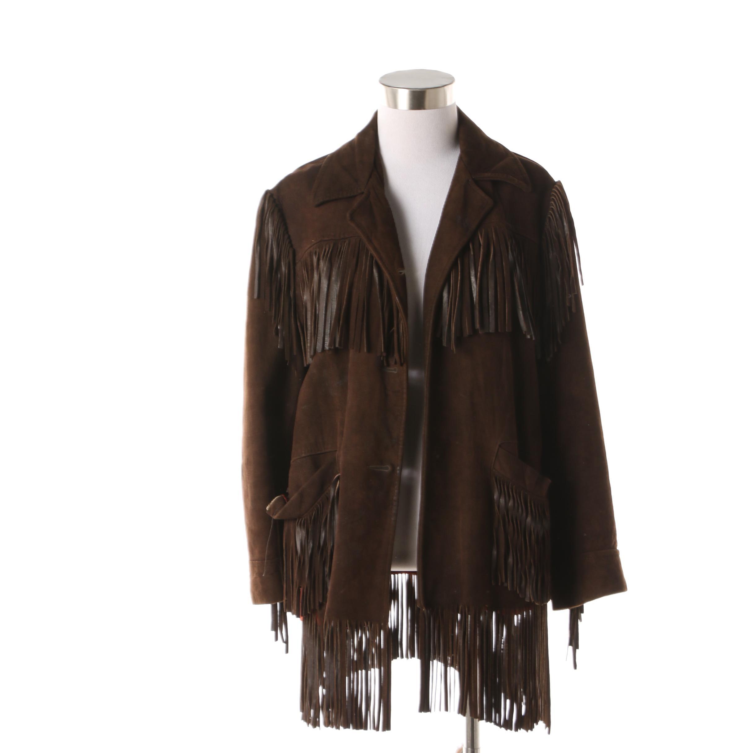 Women's 1970s Vintage Dark Brown Suede Fringe Jacket