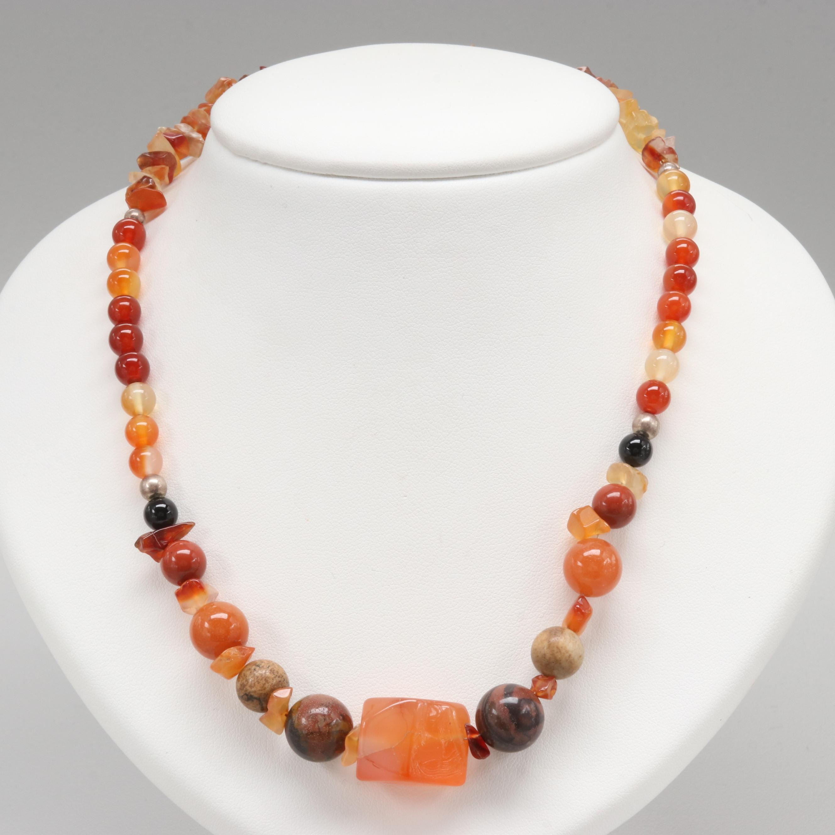 Sterling Silver Jasper, Agate and Carnelian Necklace