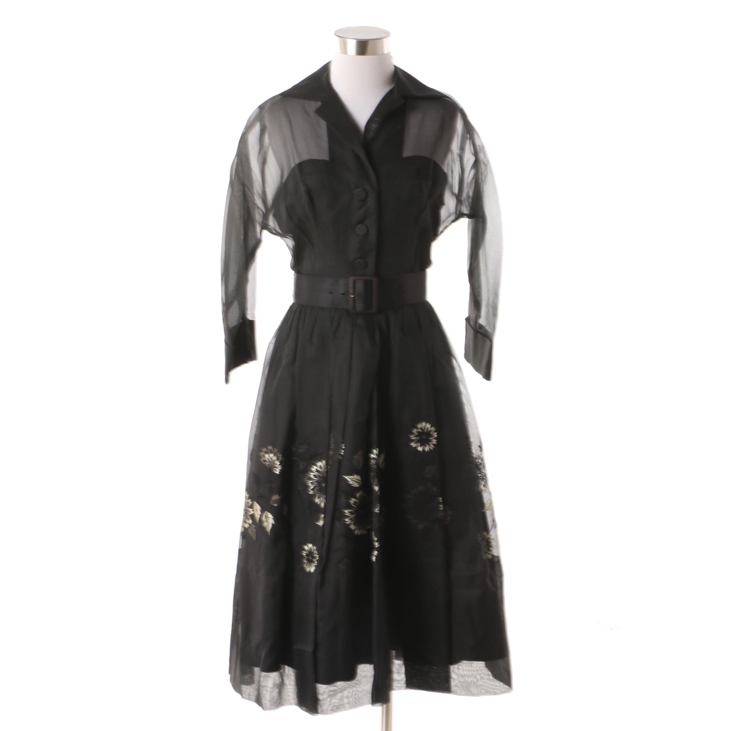 Women's Circa 1950s Vintage Black Embroidered Dress with Waist Belt