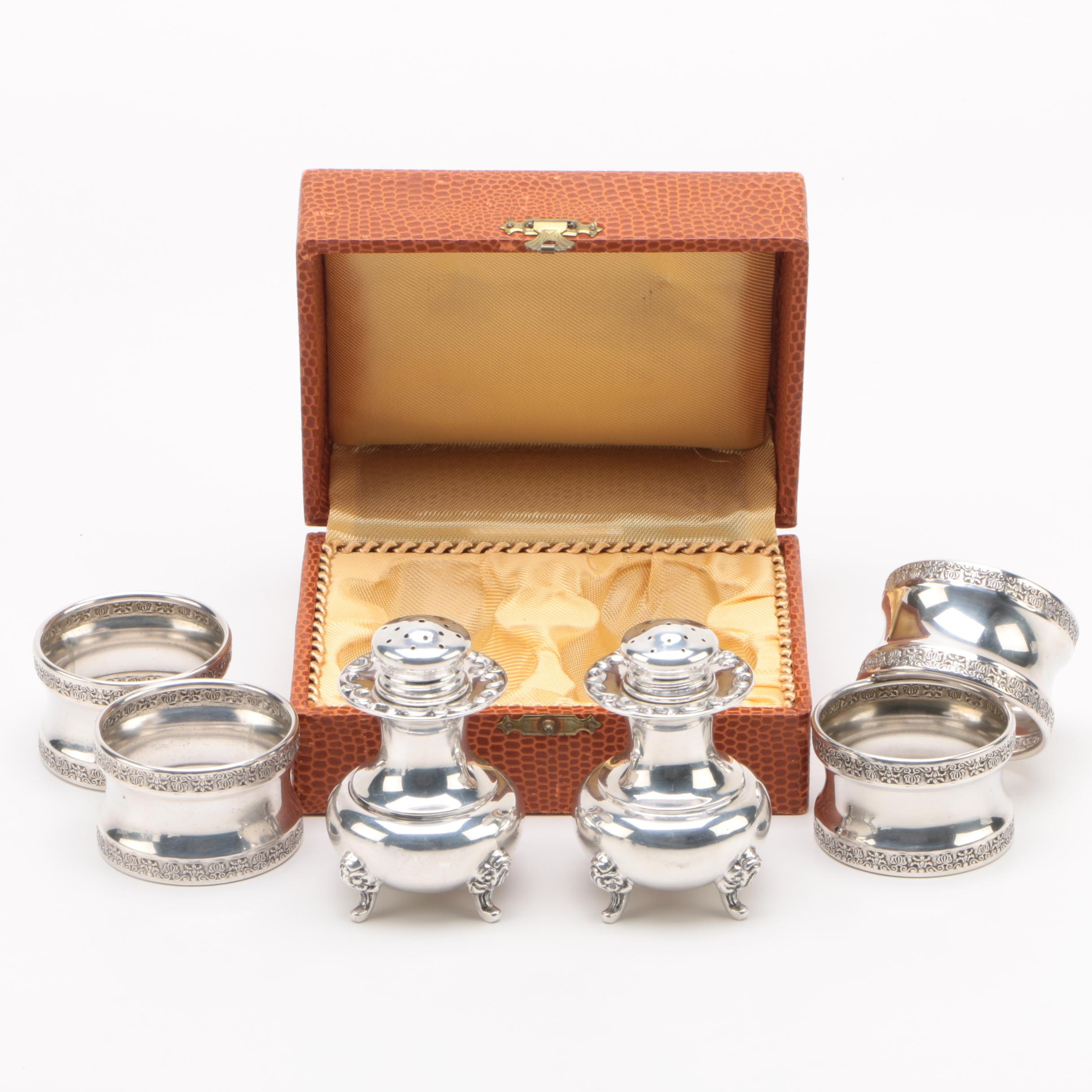 Gayer & Krauss German Sterling Shakers with Italian 800 Silver Napkin Rings