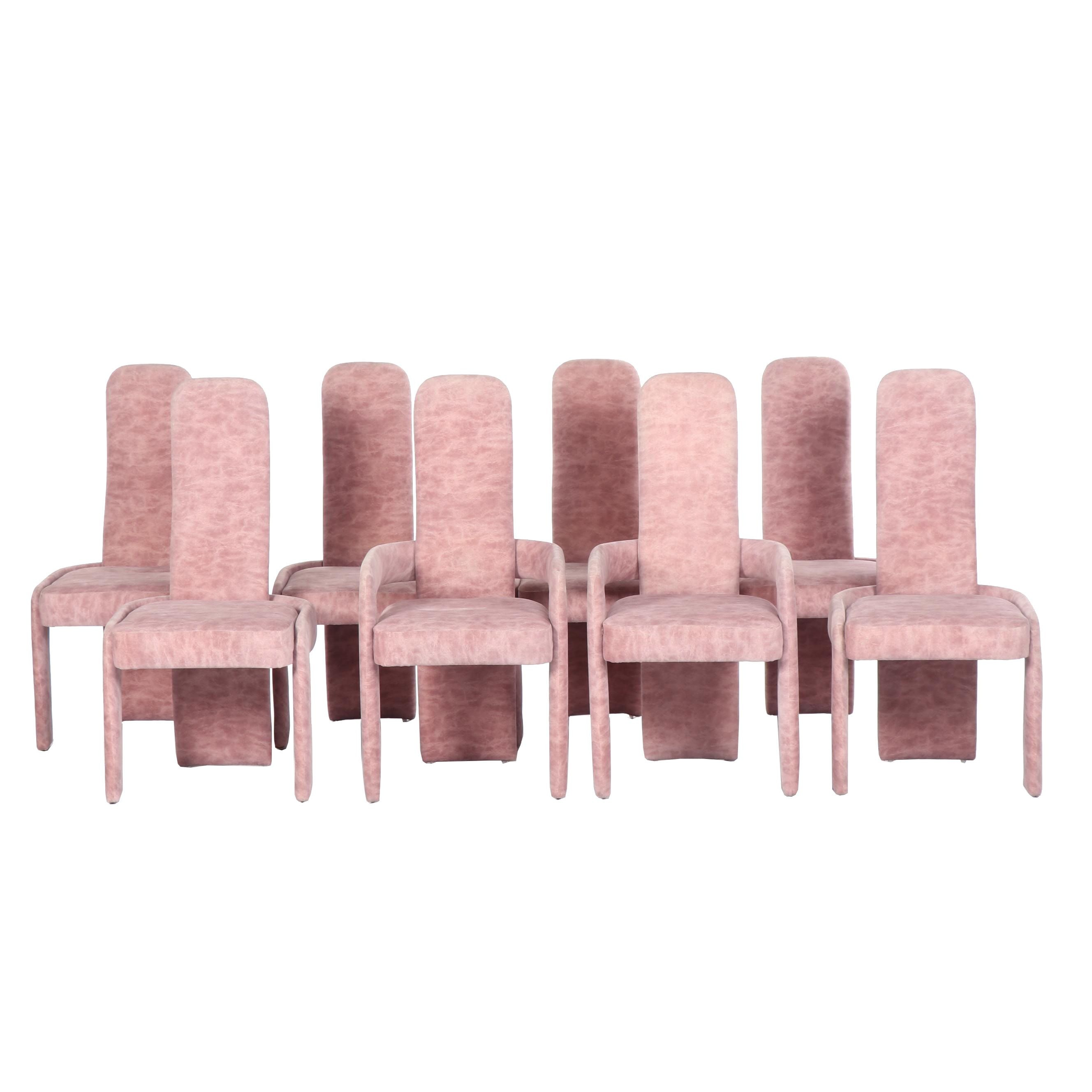 Postmodern Upholstered Long Back Dining Chairs, Late 21st Century
