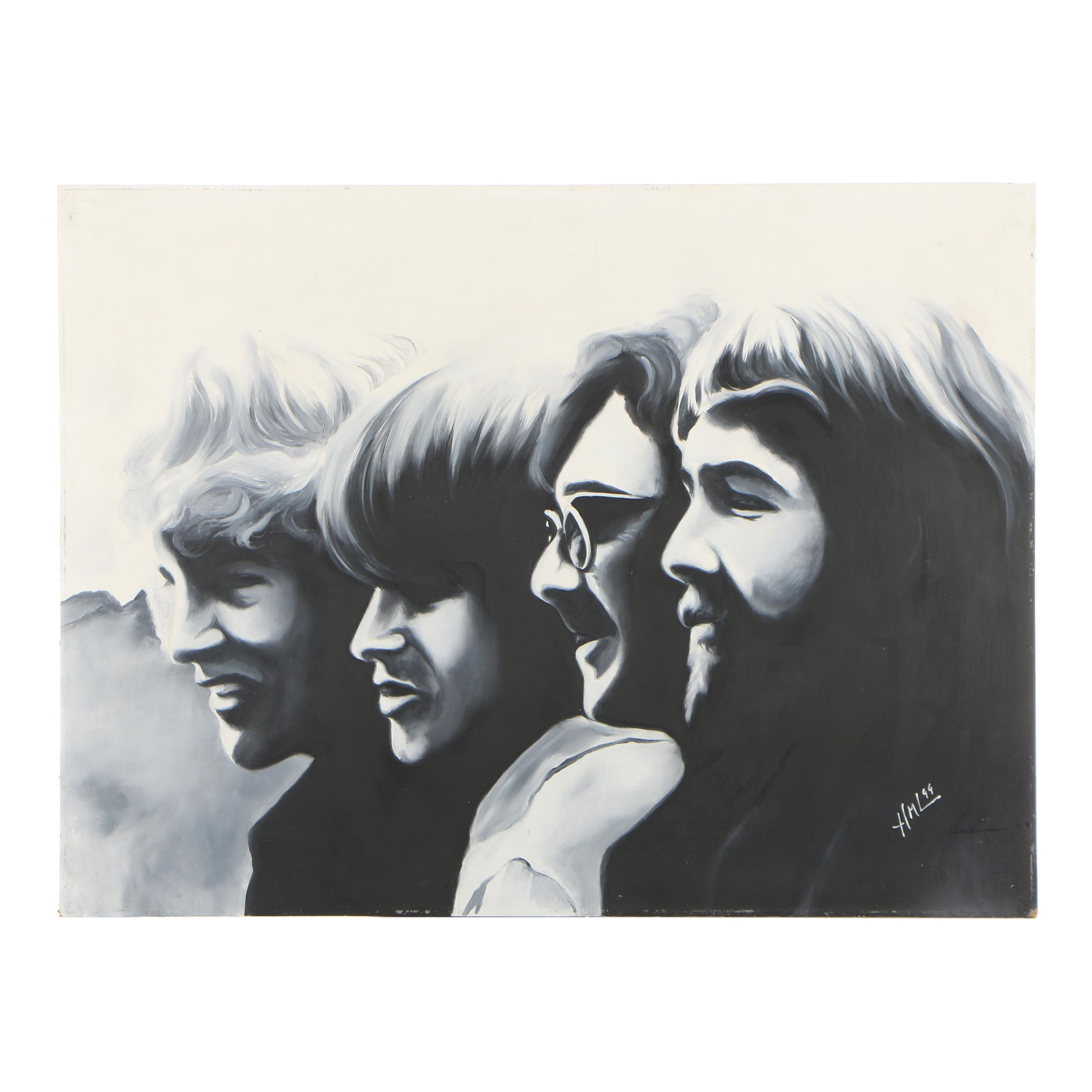 Hector Monroy (Monrock) 1999 Creedence Clearwater Revival Oil Painting on Board