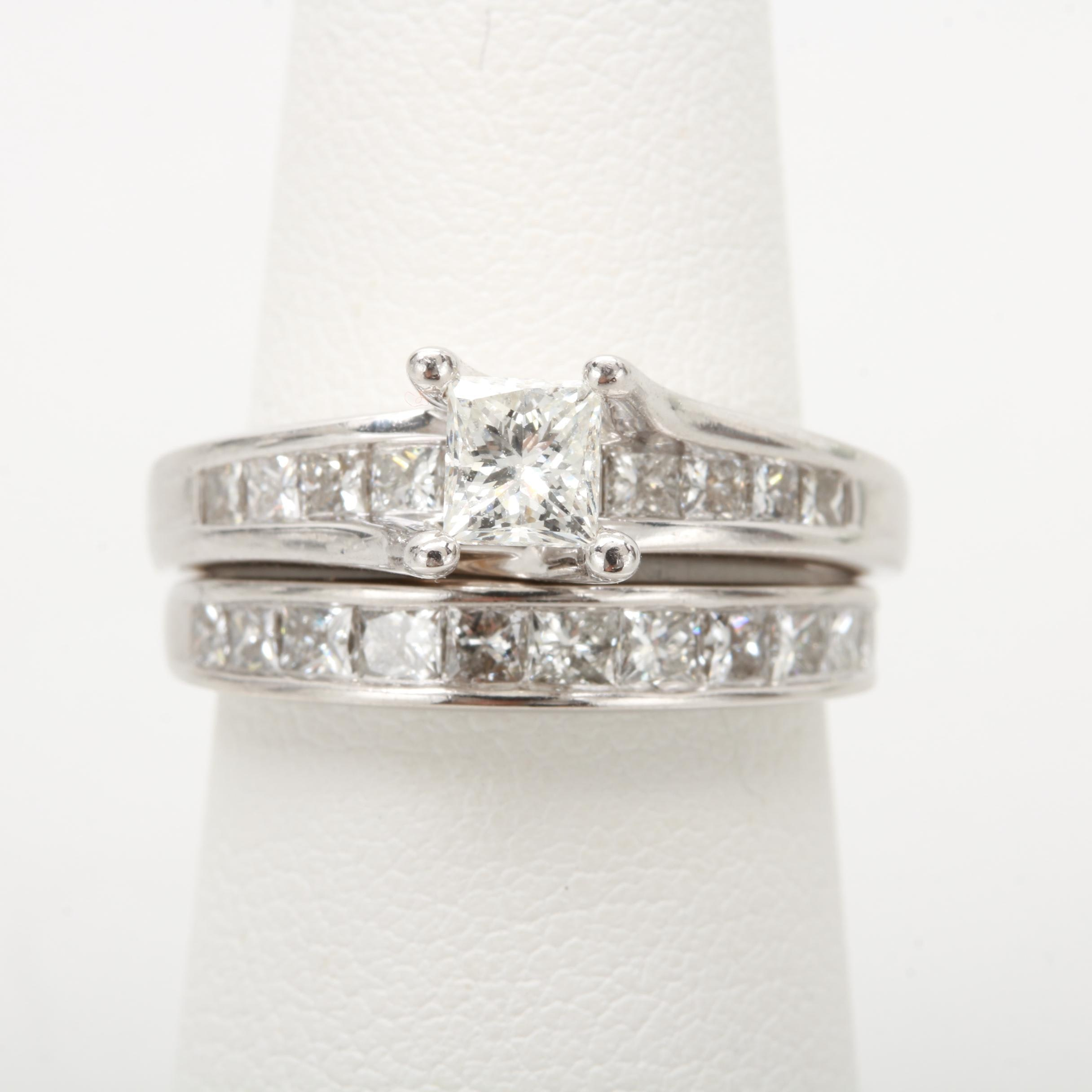 14K and 18K White Gold 1.94 CTW Diamond Bridal Ring Set