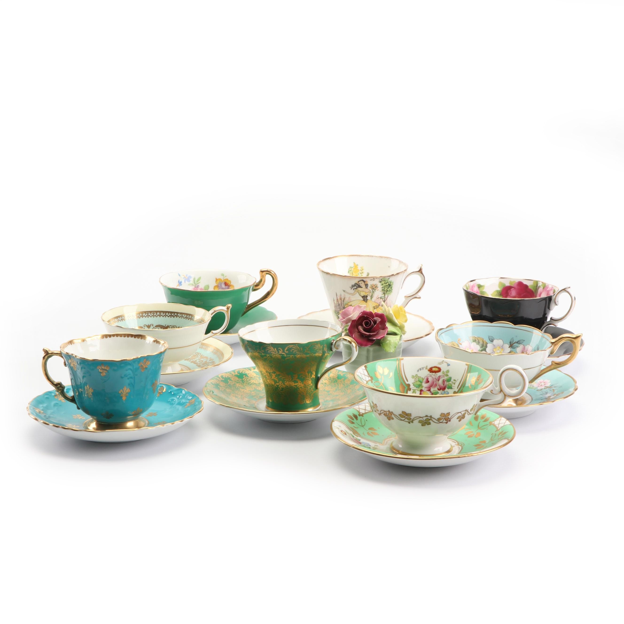 """Vintage English Bone China Cups and Saucers featuring Royal Stafford """"Garland"""""""