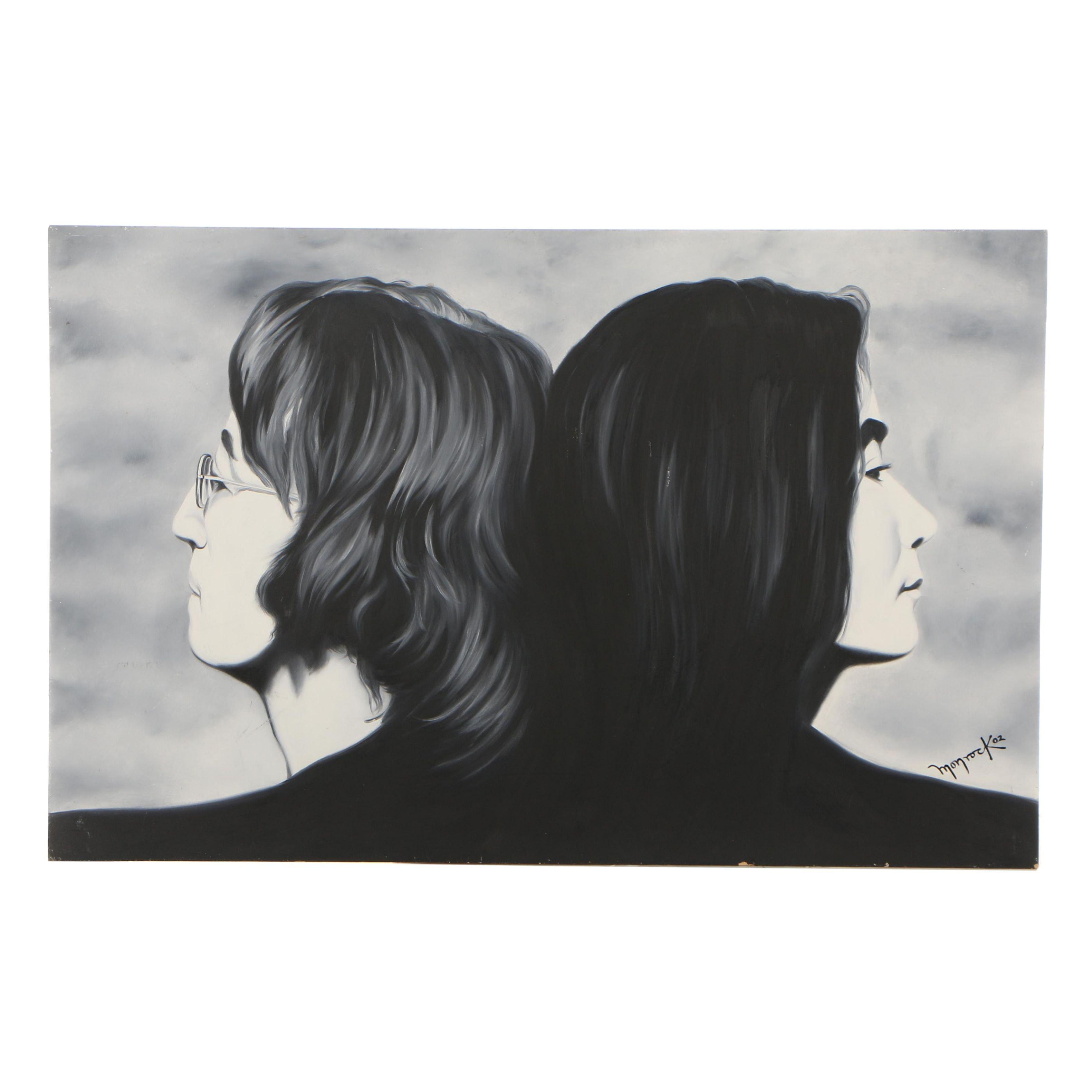 Hector Monroy (Monrock) 2002 John and Yoko Oil Painting on Board