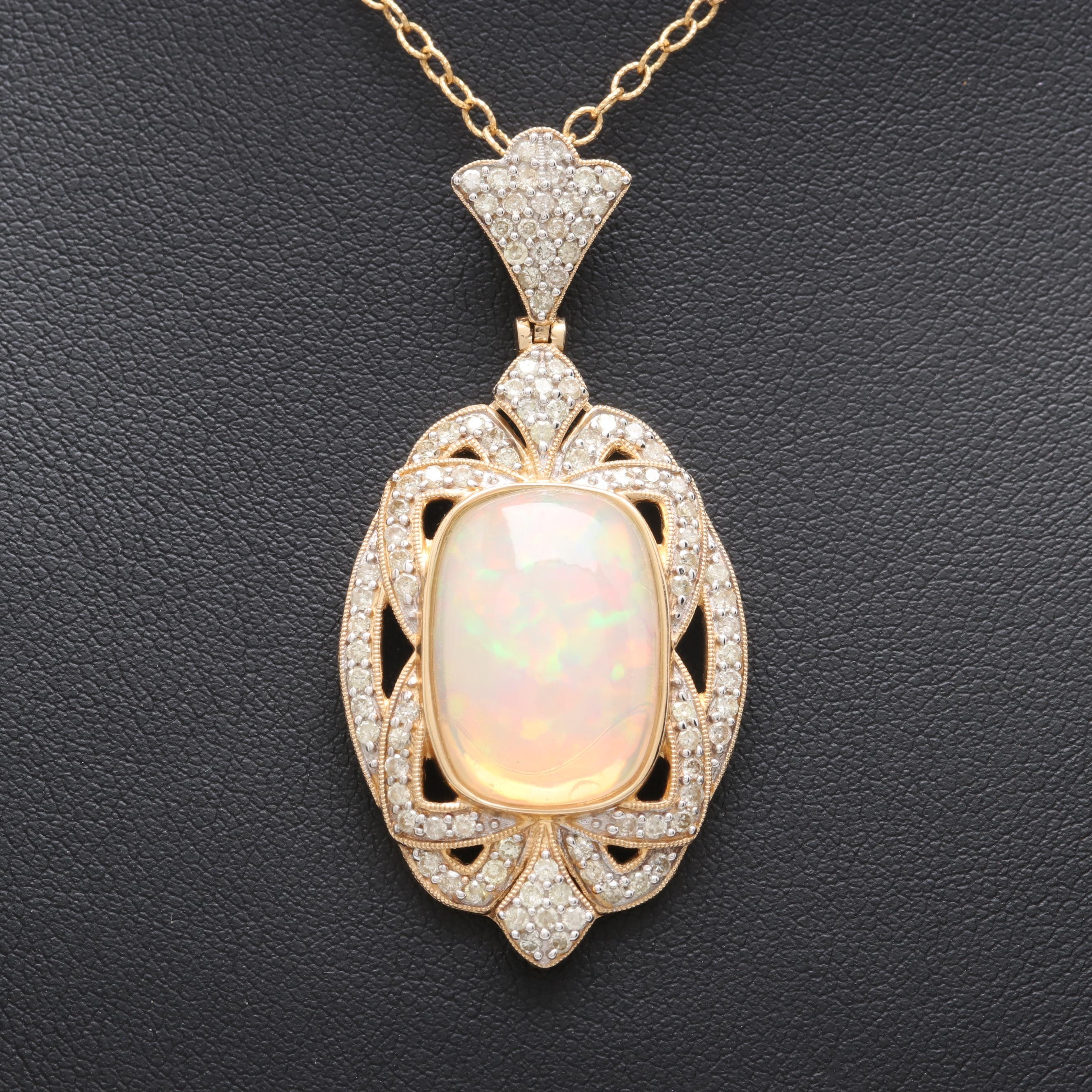 14K Yellow Gold 5.53 CT Opal and 1.01 CTW Diamond Necklace