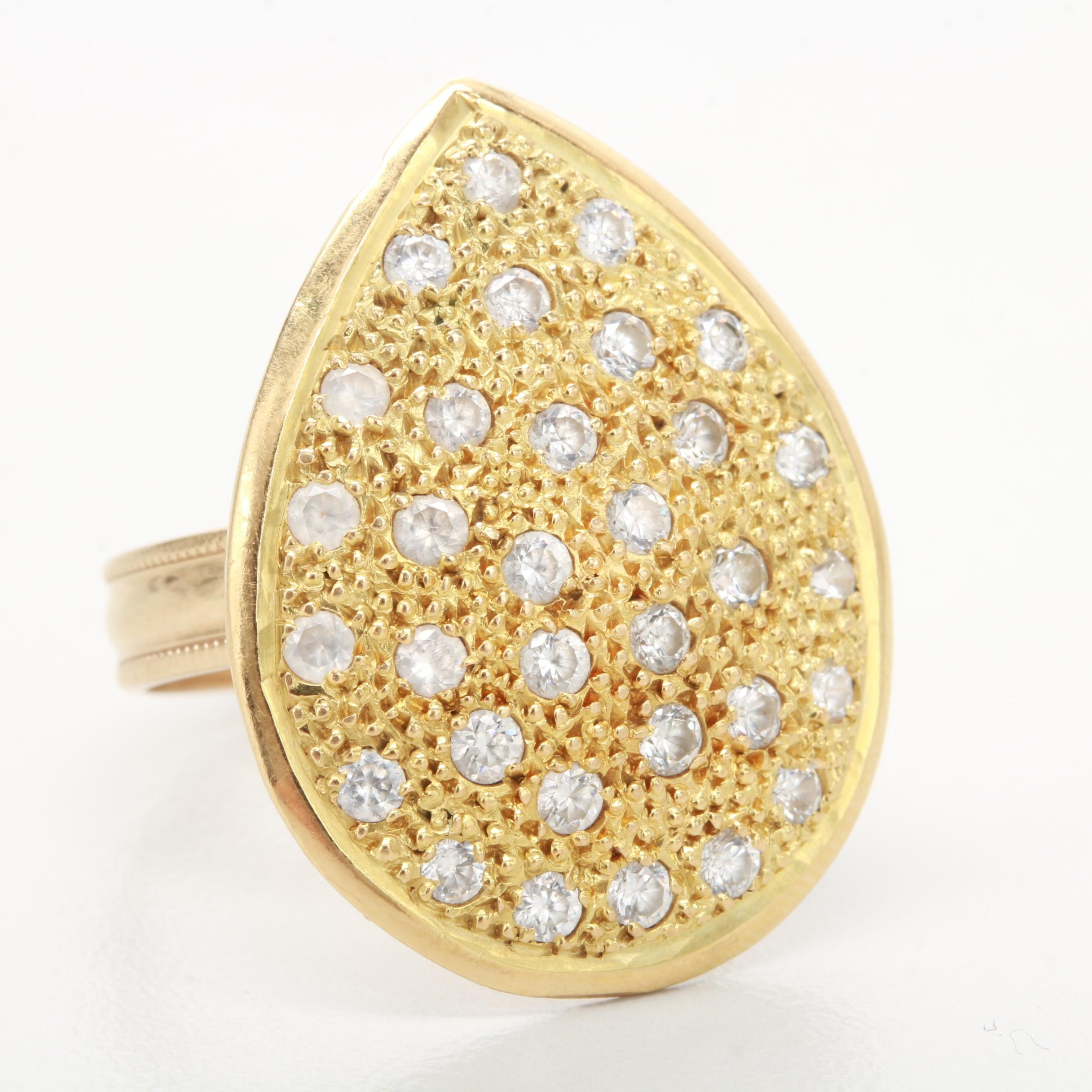 10K and 18K Yellow Gold Cubic Zirconia Ring