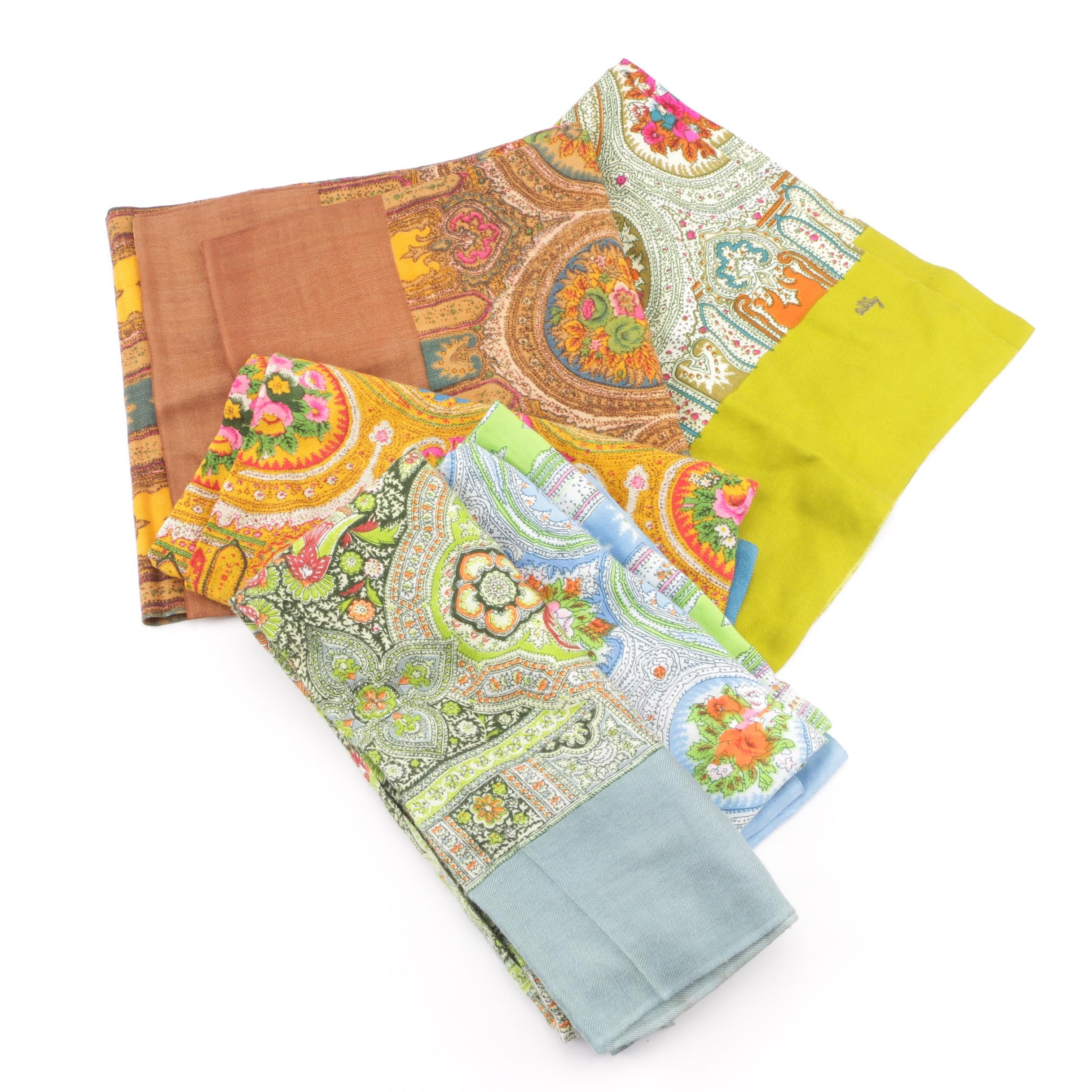 Oilily Wool Blend Paisley and Floral Print Tube Scarves