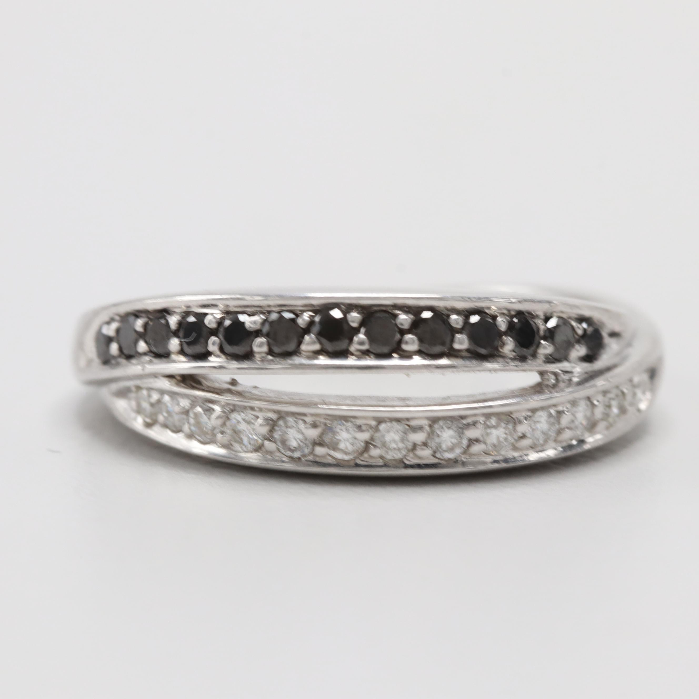 14K White Gold Diamond and Black Diamond Ring