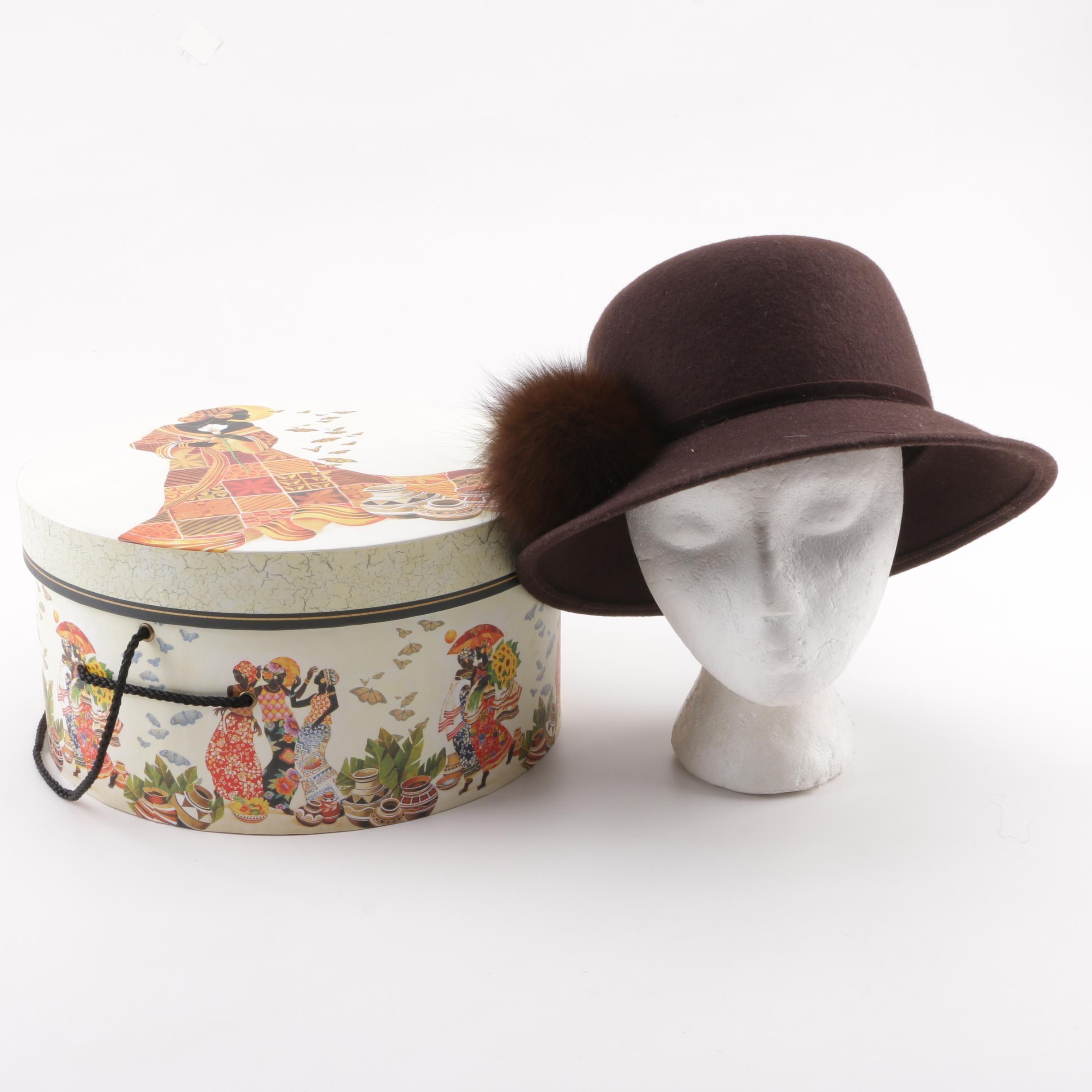 Women's Circa 1980s Studio Kōkin Brown Felted Wool Hat with Fox Fur Accent